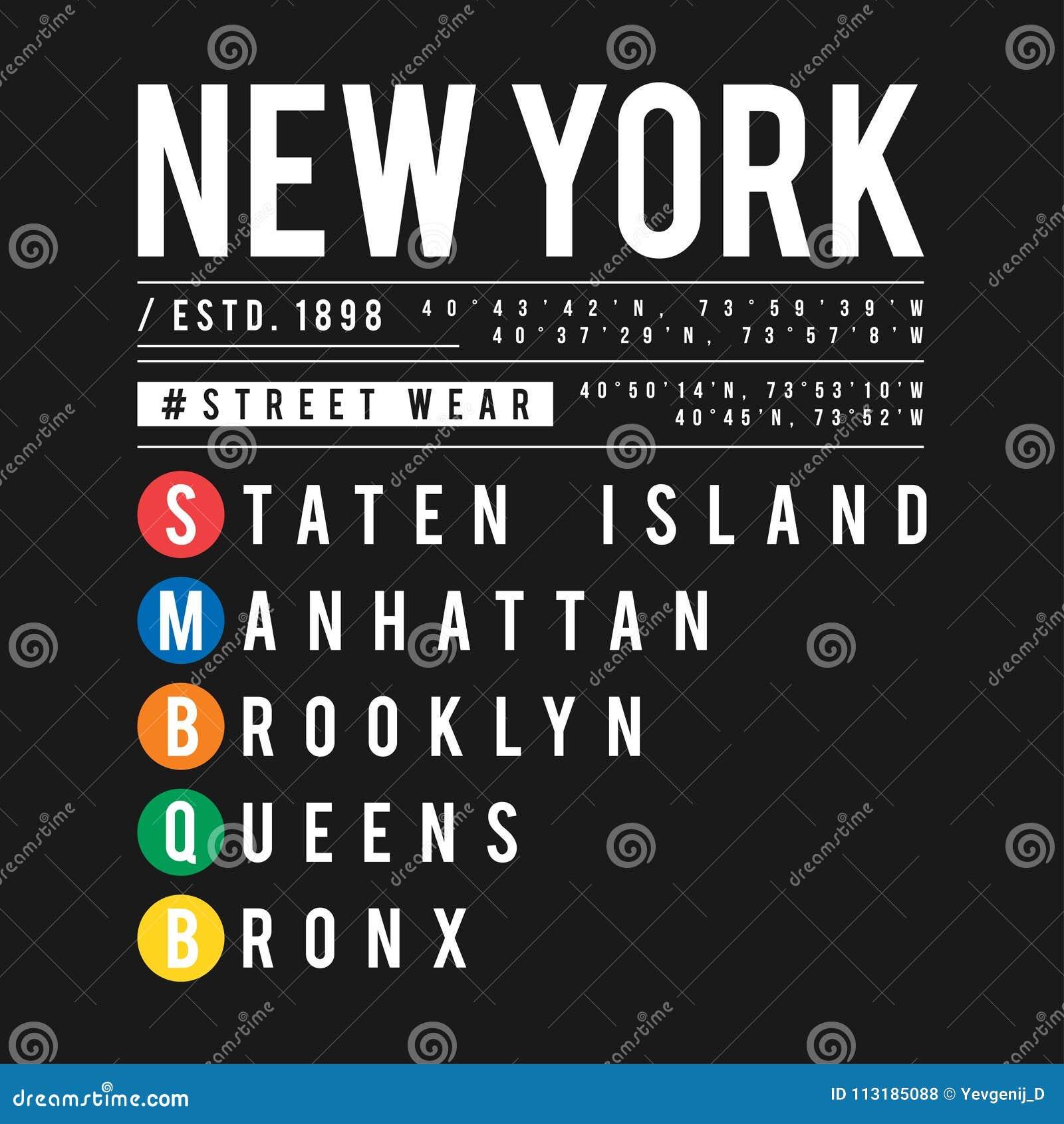 Projeto do t-shirt no conceito do metro de New York City Tipografia fresca com as cidades de New York para a cópia da camisa Gráf