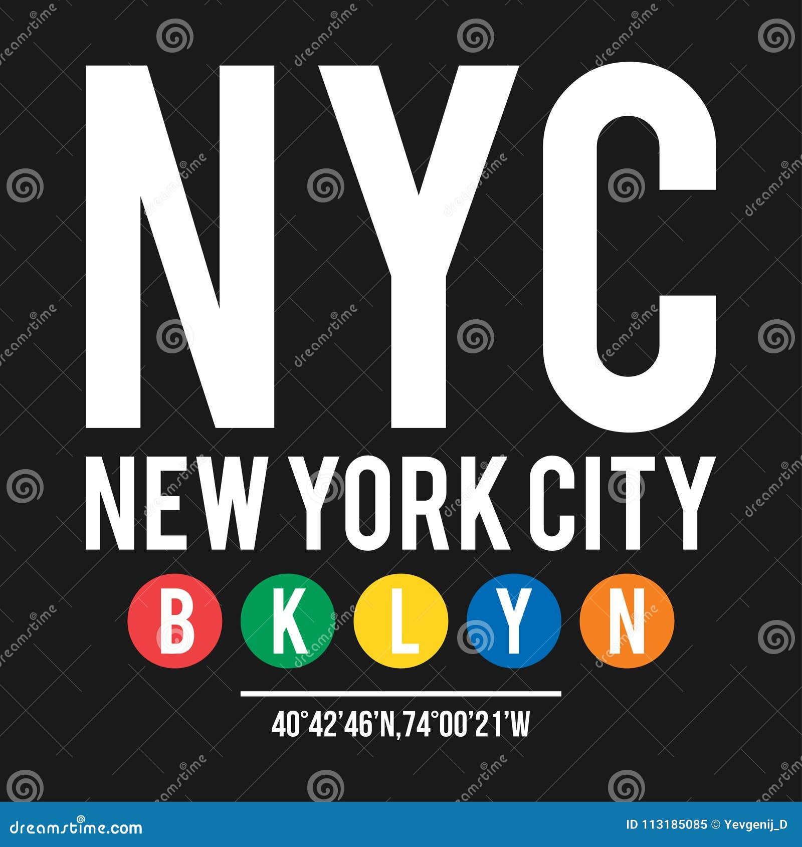 Projeto do t-shirt no conceito do metro de New York City Tipografia fresca com cidade Brooklyn para a cópia da camisa Gráfico do