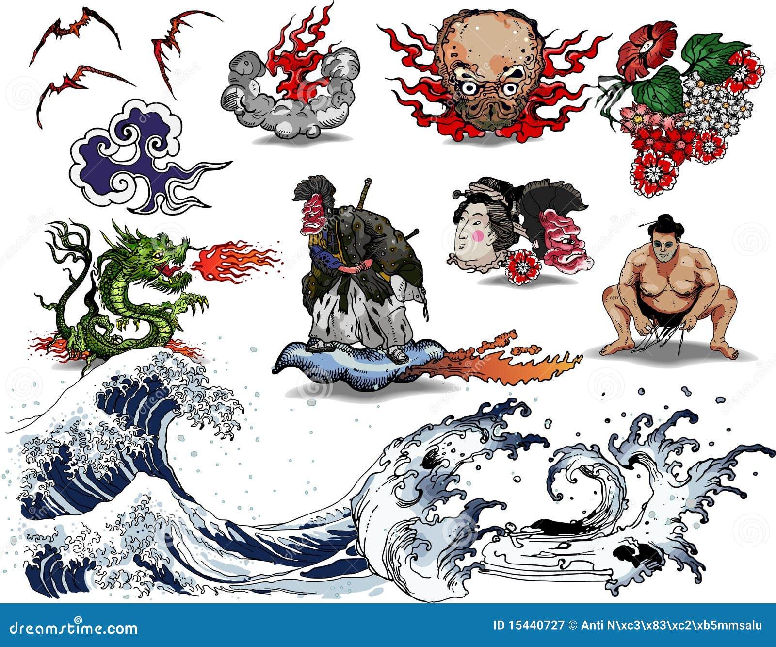 Projeto Do Tatuagem Japons Fotografia De Stock Royalty