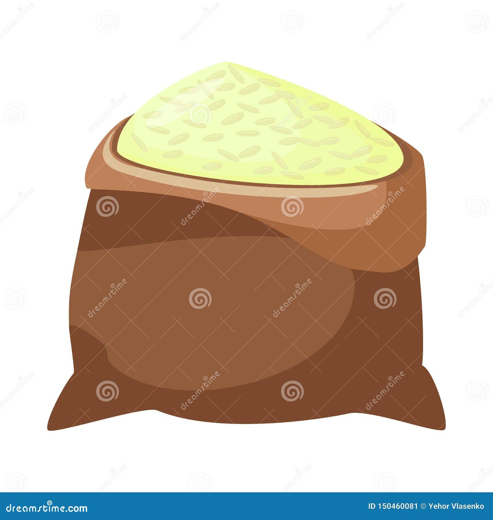 Projeto do vetor do ícone do saco e do arroz Coleção do saco e ícone por atacado do vetor para o estoque