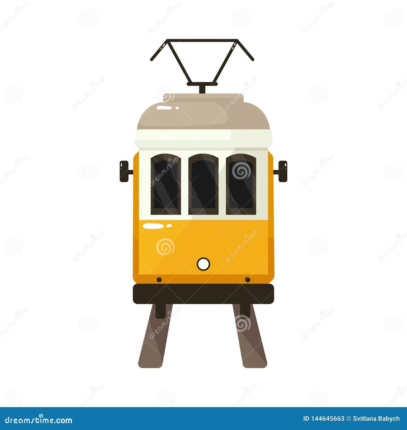 Projeto do vetor do bonde e do logotipo de Lisboa Ajuste do ícone do vetor do bonde e da estrada de ferro para o estoque