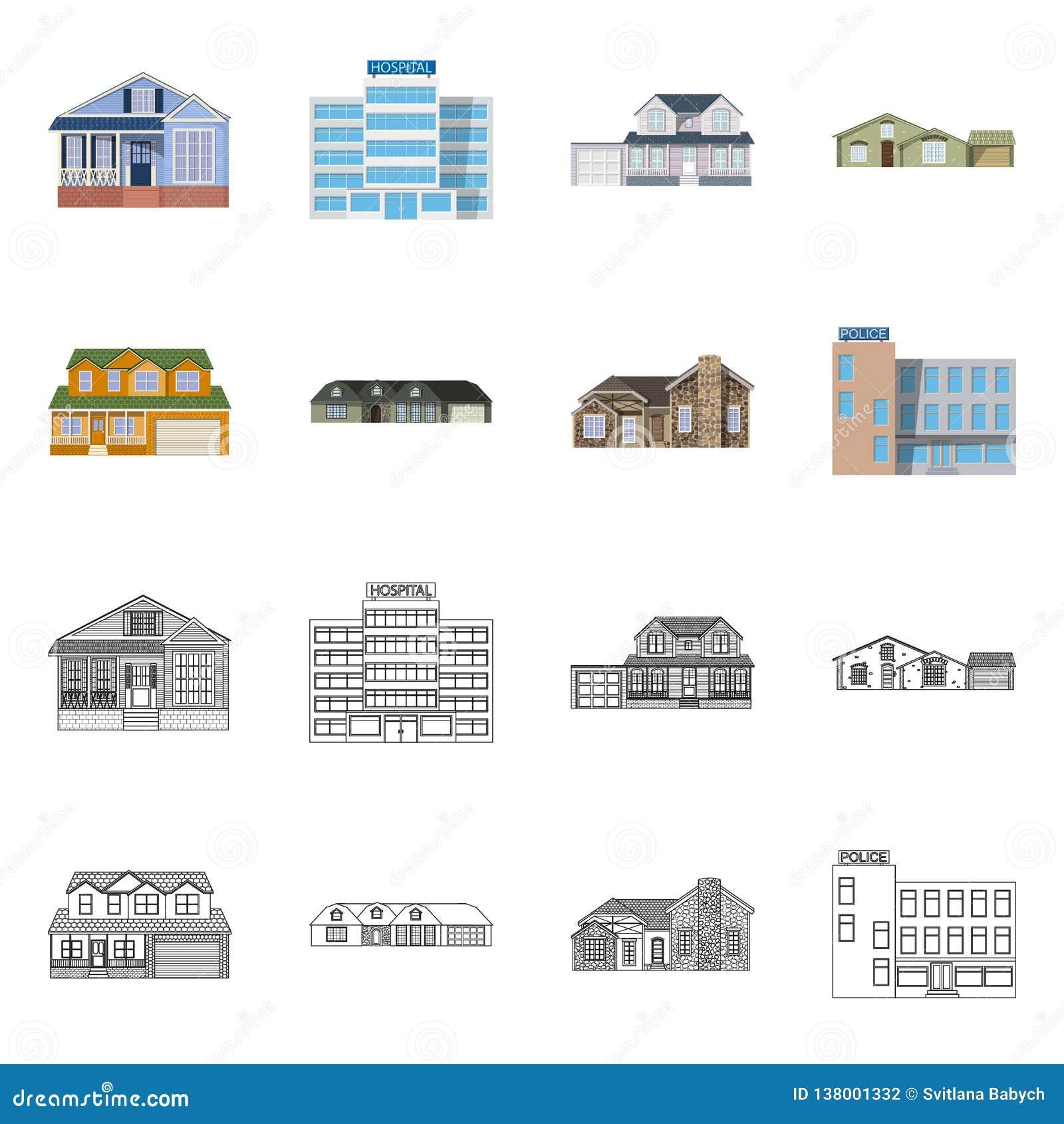 Projeto do vetor da construção e do símbolo dianteiro Grupo de símbolo de ações da construção e do telhado para a Web