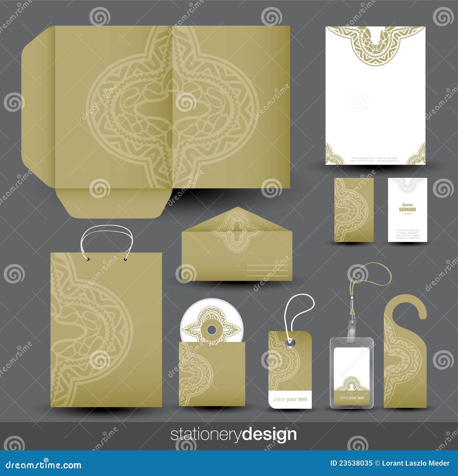 Projeto dos artigos de papelaria ajustado no formato do vetor