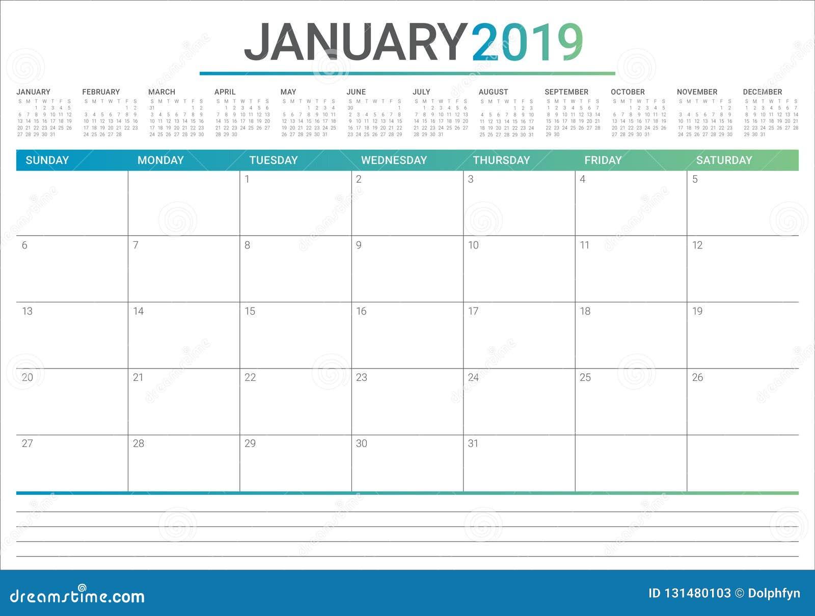 Projeto em janeiro de 2019 de mesa do calendário do vetor da ilustração, o simples e o limpo