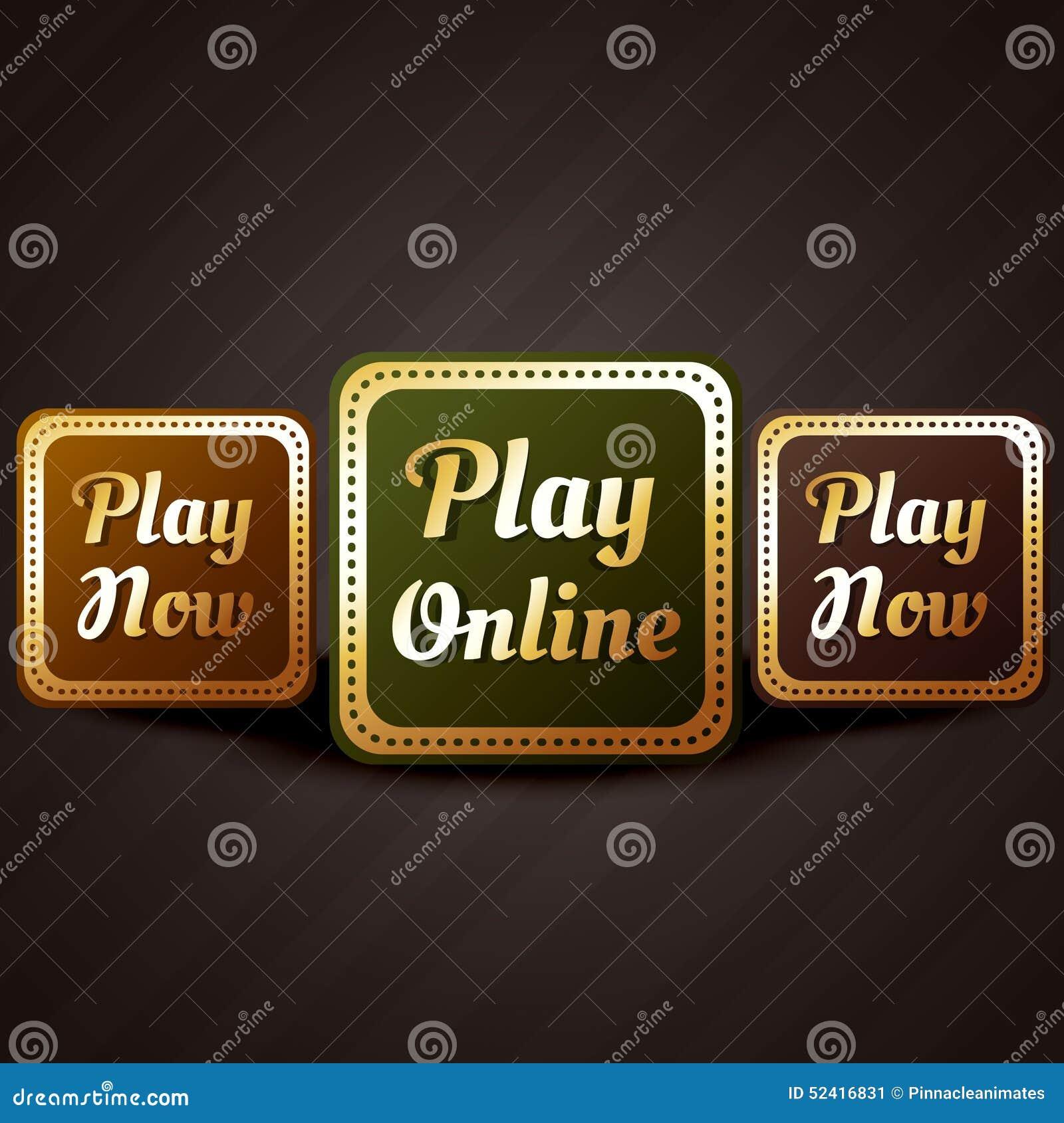 Projeto em linha do vetor do botão do jogo do estilo do casino do jogo