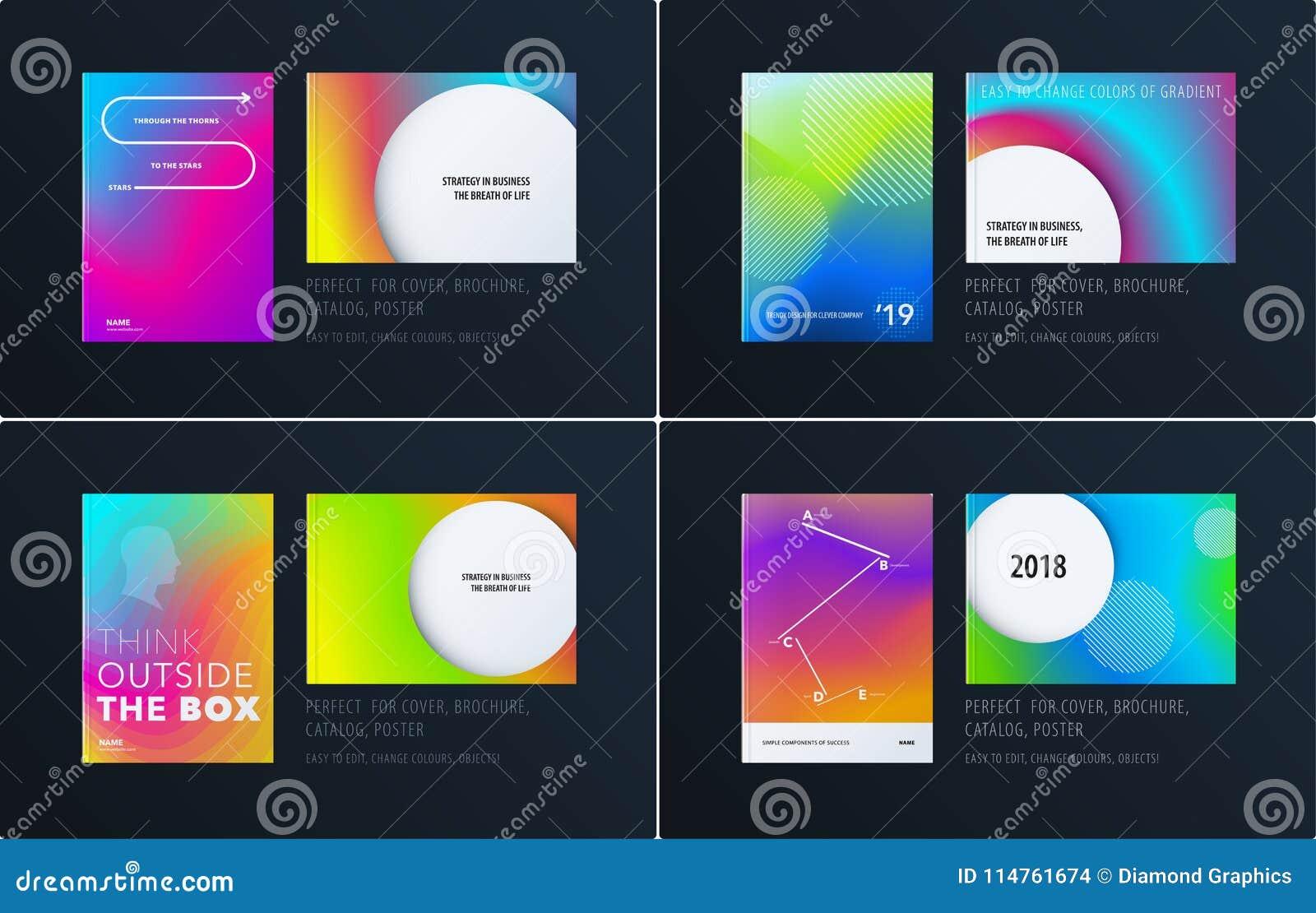 Projeto gráfico colorido abstrato do folheto no estilo líquido fluido com fundo liso borrado jogo
