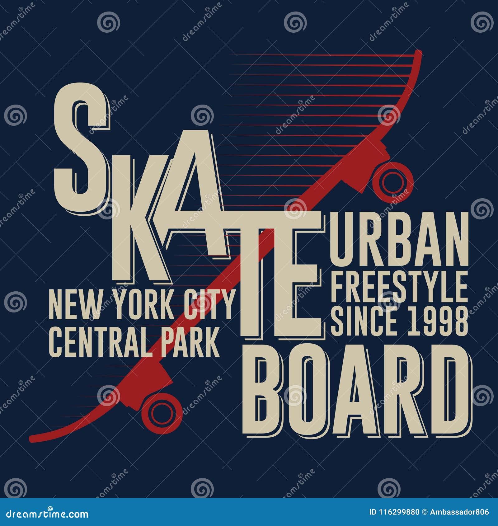 Projeto gráfico Skateboarding do t-shirt de New York