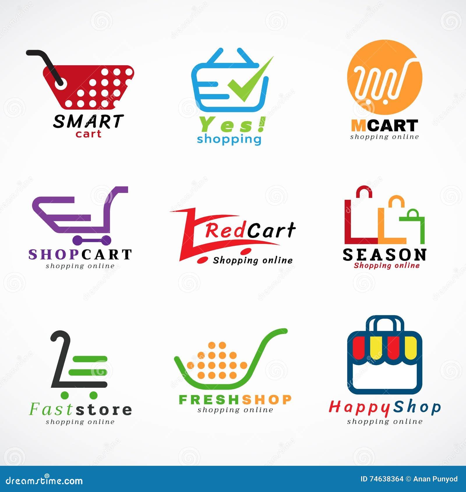 projeto gr fico ajustado do vetor do logotipo do carrinho de compras e do logotipo dos sacos de. Black Bedroom Furniture Sets. Home Design Ideas