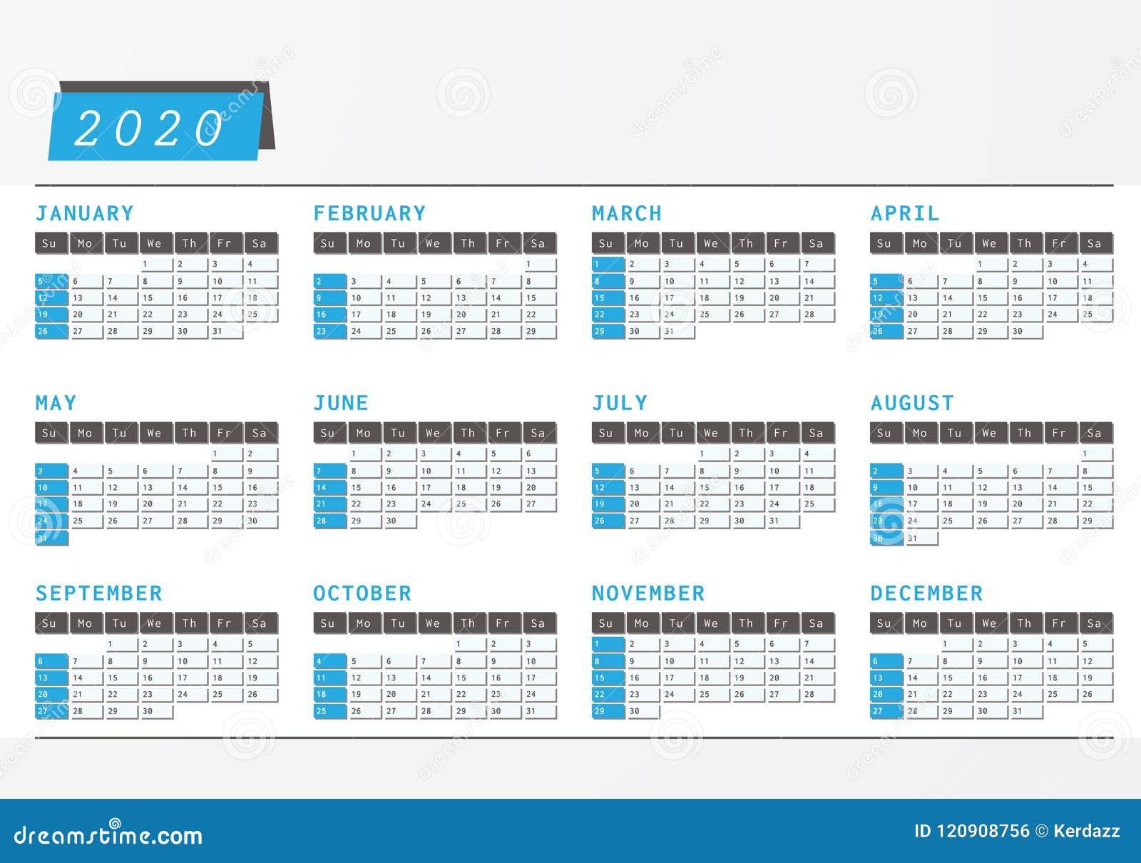 Calendario 2020 Portugal Com Feriados.Projeto 2020 Horizontal Do Escritorio Do Calendario Do Ano