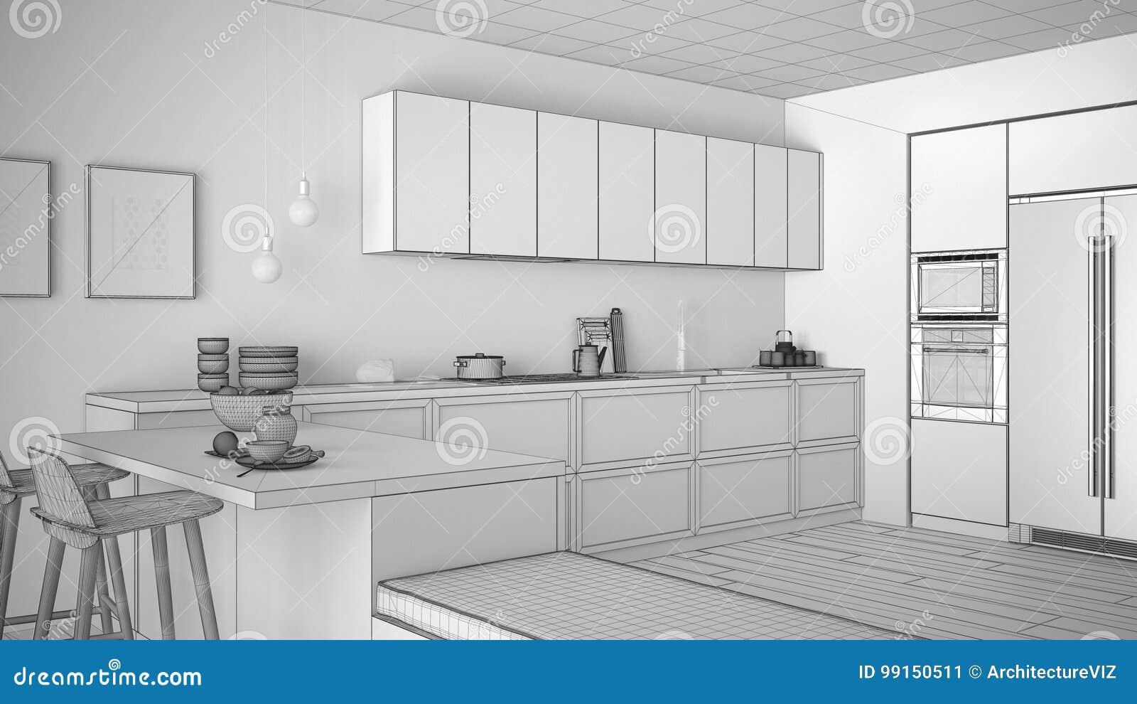 Projeto inacabado da cozinha clássica com detalhes e pa de madeira