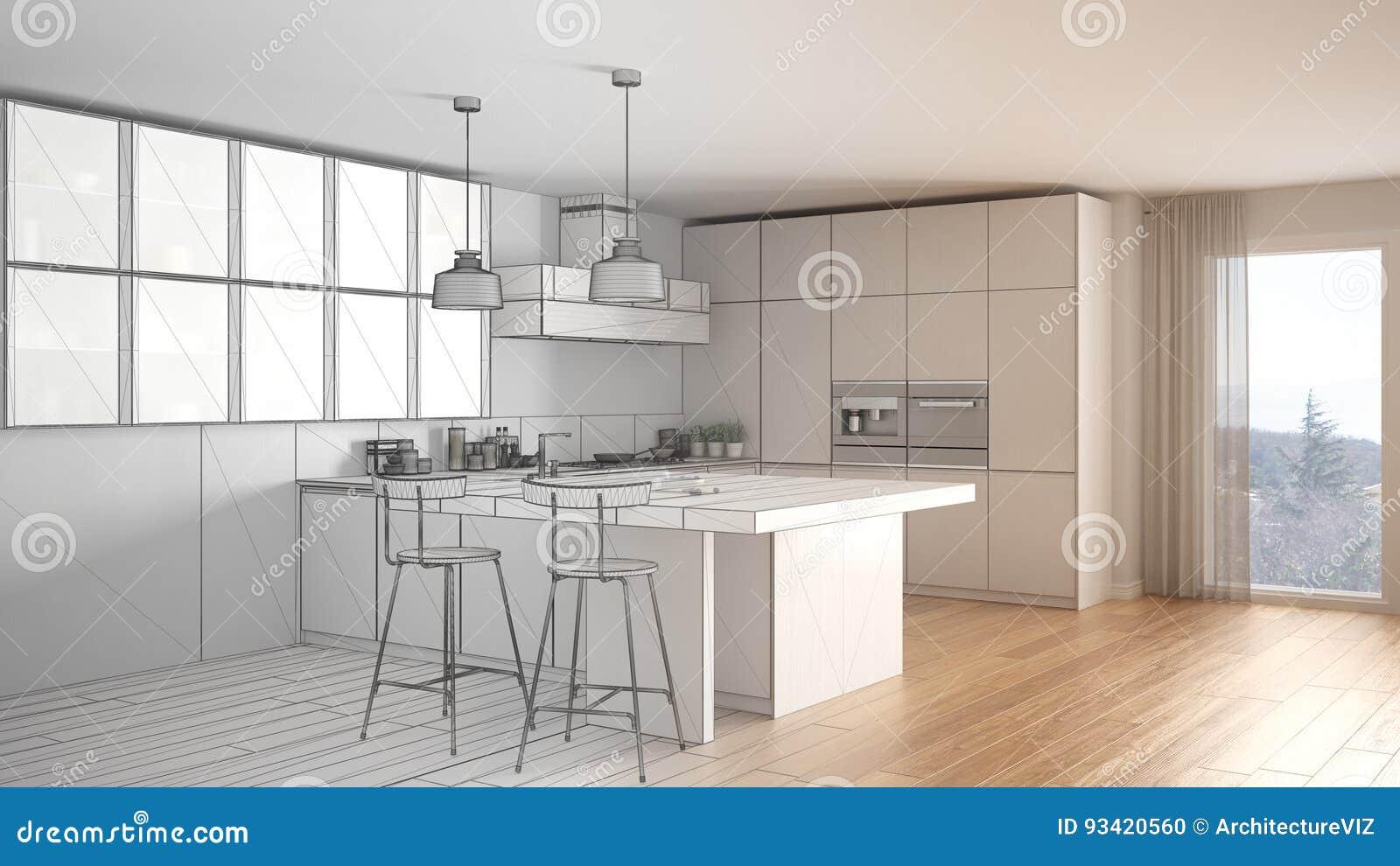 Projeto Inacabado Da Cozinha Moderna Com Janela Grande Abs Do