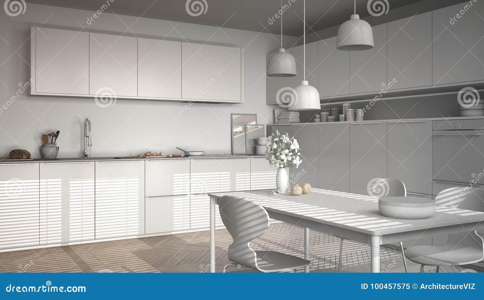 Projeto Inacabado Da Cozinha Moderna Com Tabela E Cadeiras Sr