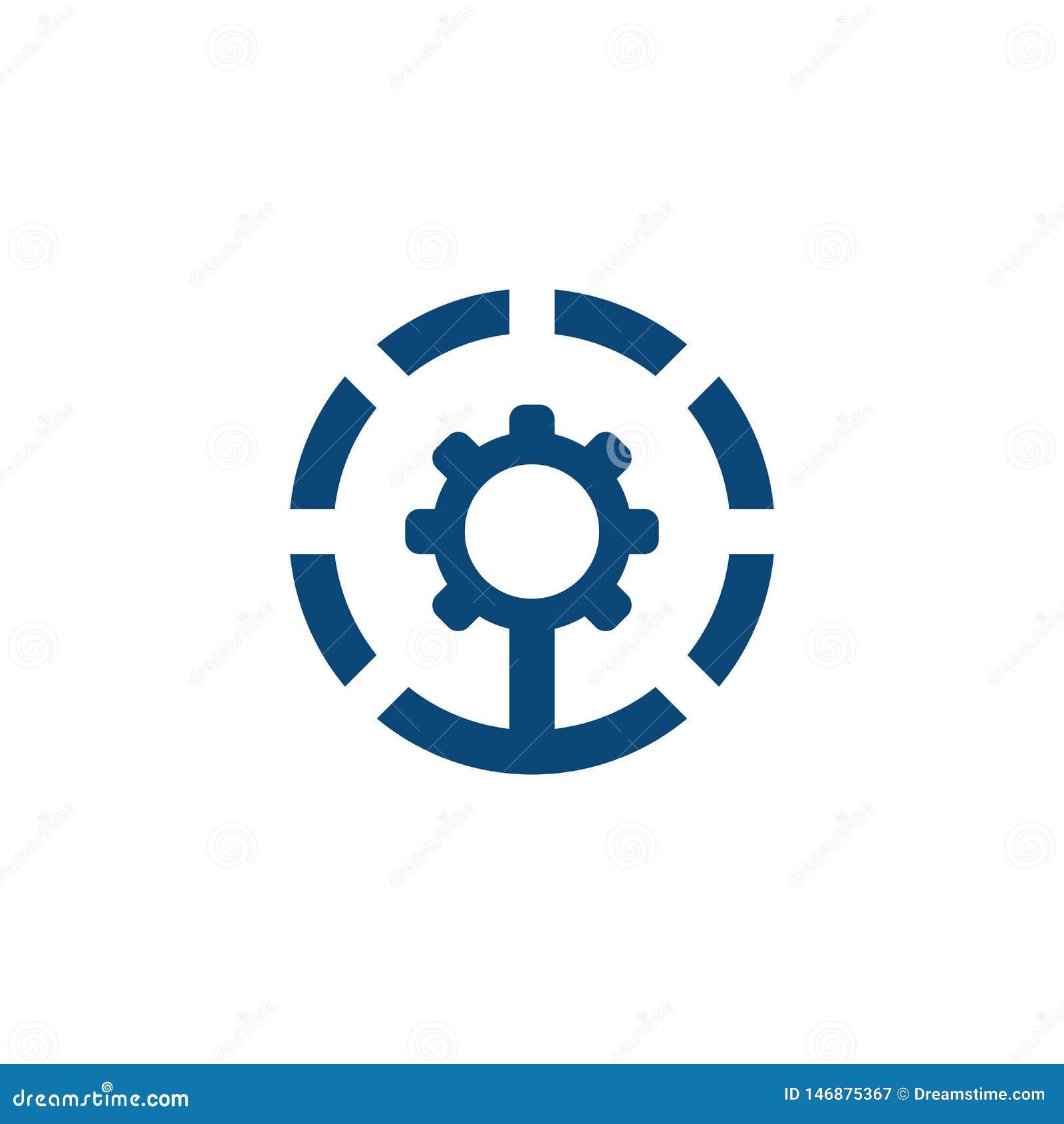 Projeto industrial do logotipo da engrenagem do círculo