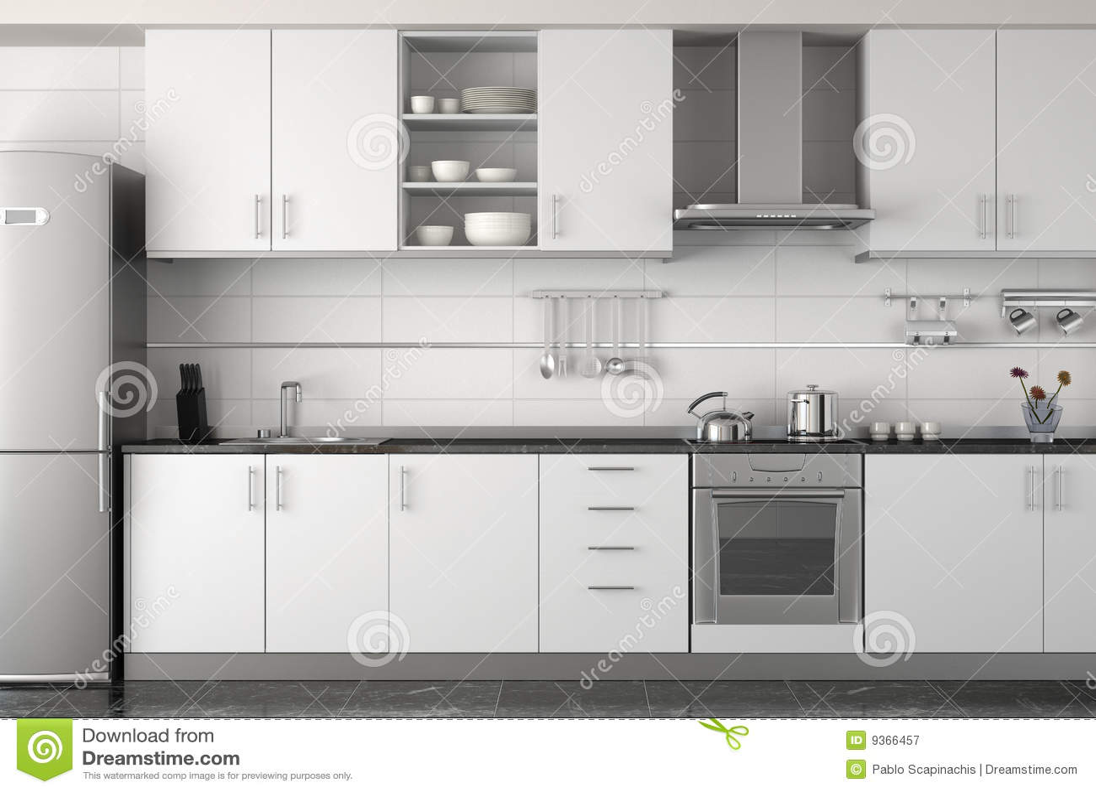 Projeto Interior Da Cozinha Branca Moderna Fotografia de Stock Royalty  #86A922 1300 956