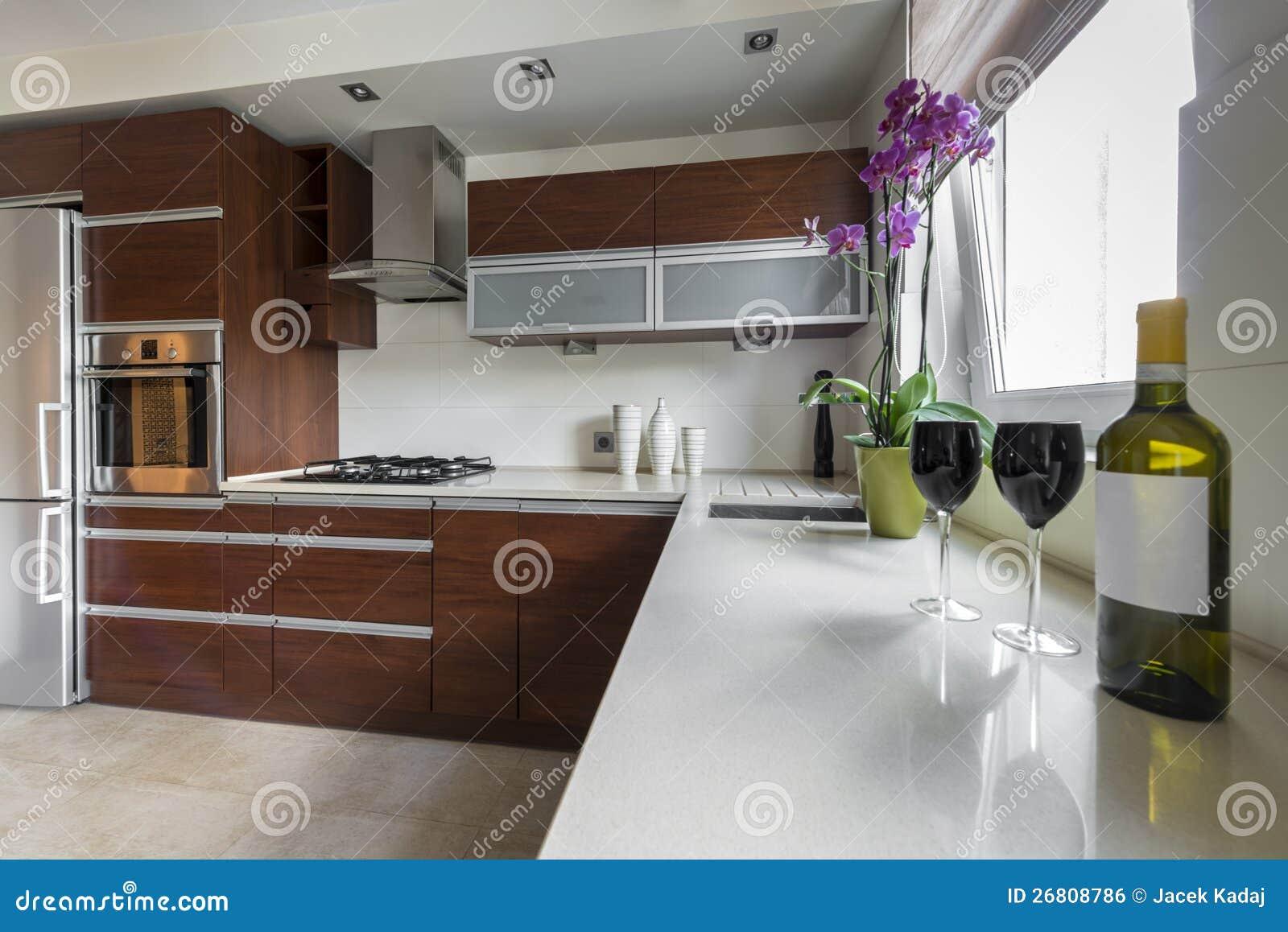 Projeto Interior Da Cozinha Moderna Foto De Stock Imagem De Vazio