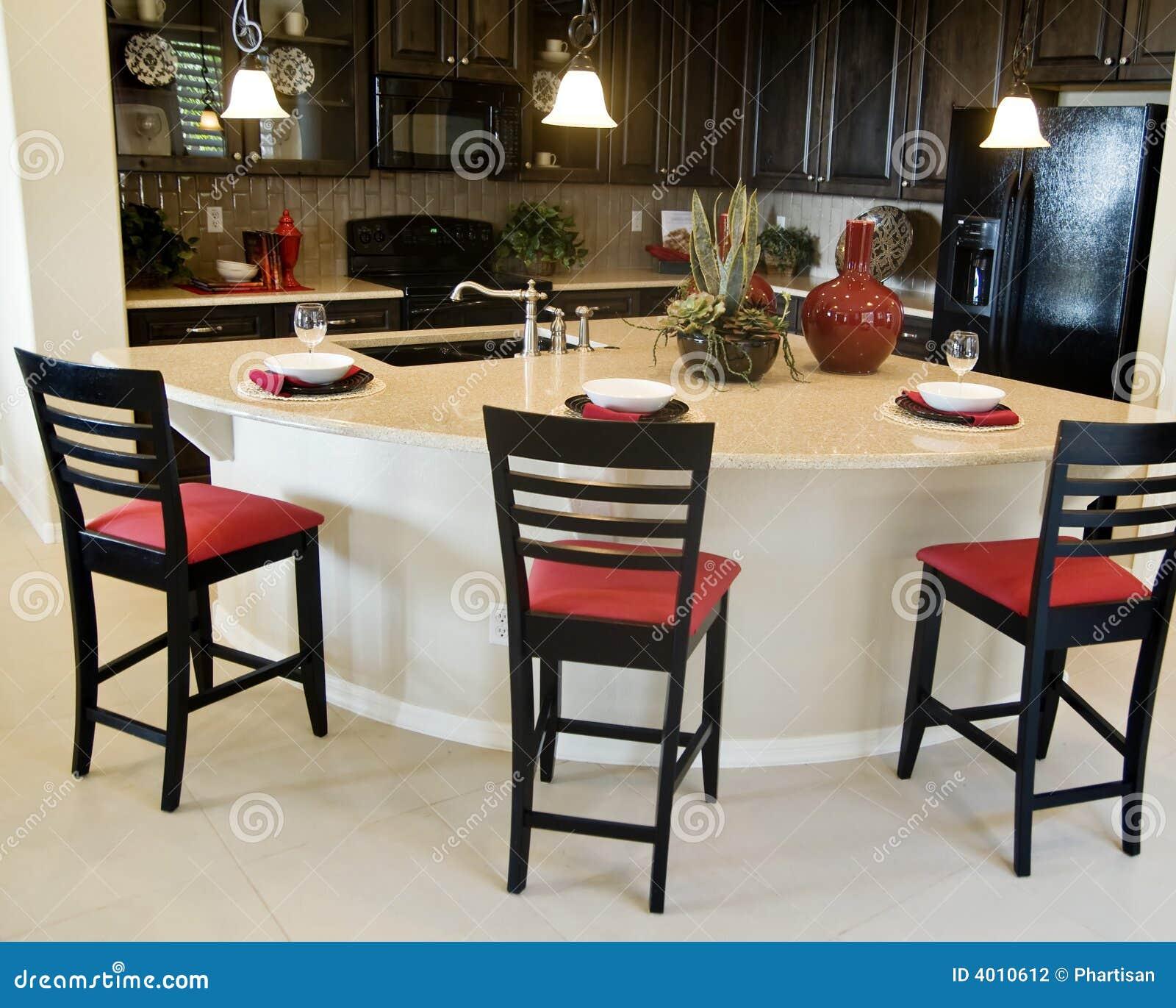 Projeto Interior Da Cozinha Moderna Fotografia de Stock Imagem  #9A3431 1300 1131
