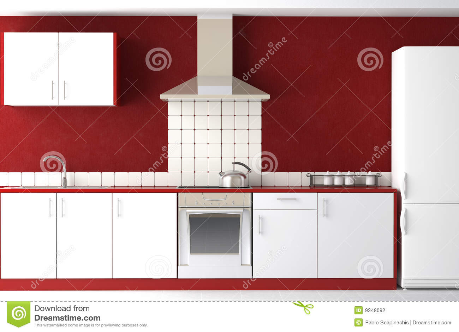 Projeto interior da cozinha vermelha e branca moderna limpa. #A42727 1300 957