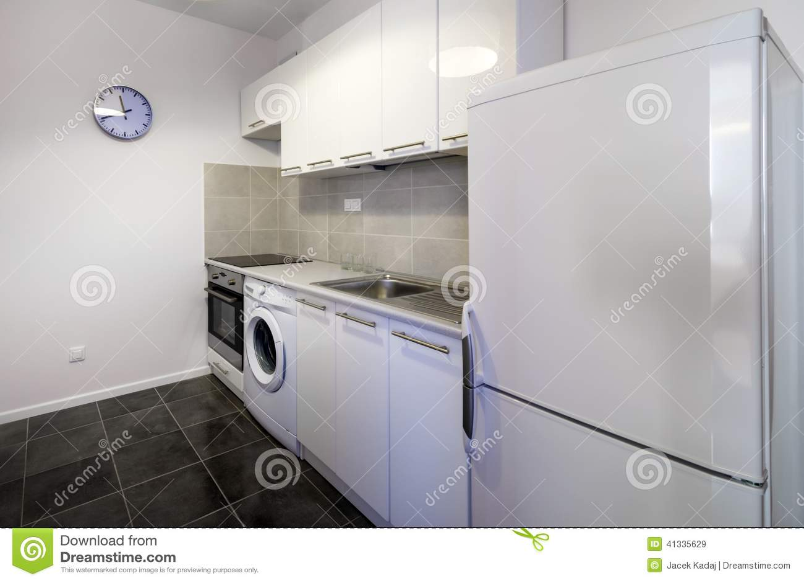 Projeto Interior Limpo Da Cozinha Branca Moderna Foto de Stock  #81A229 1300 957