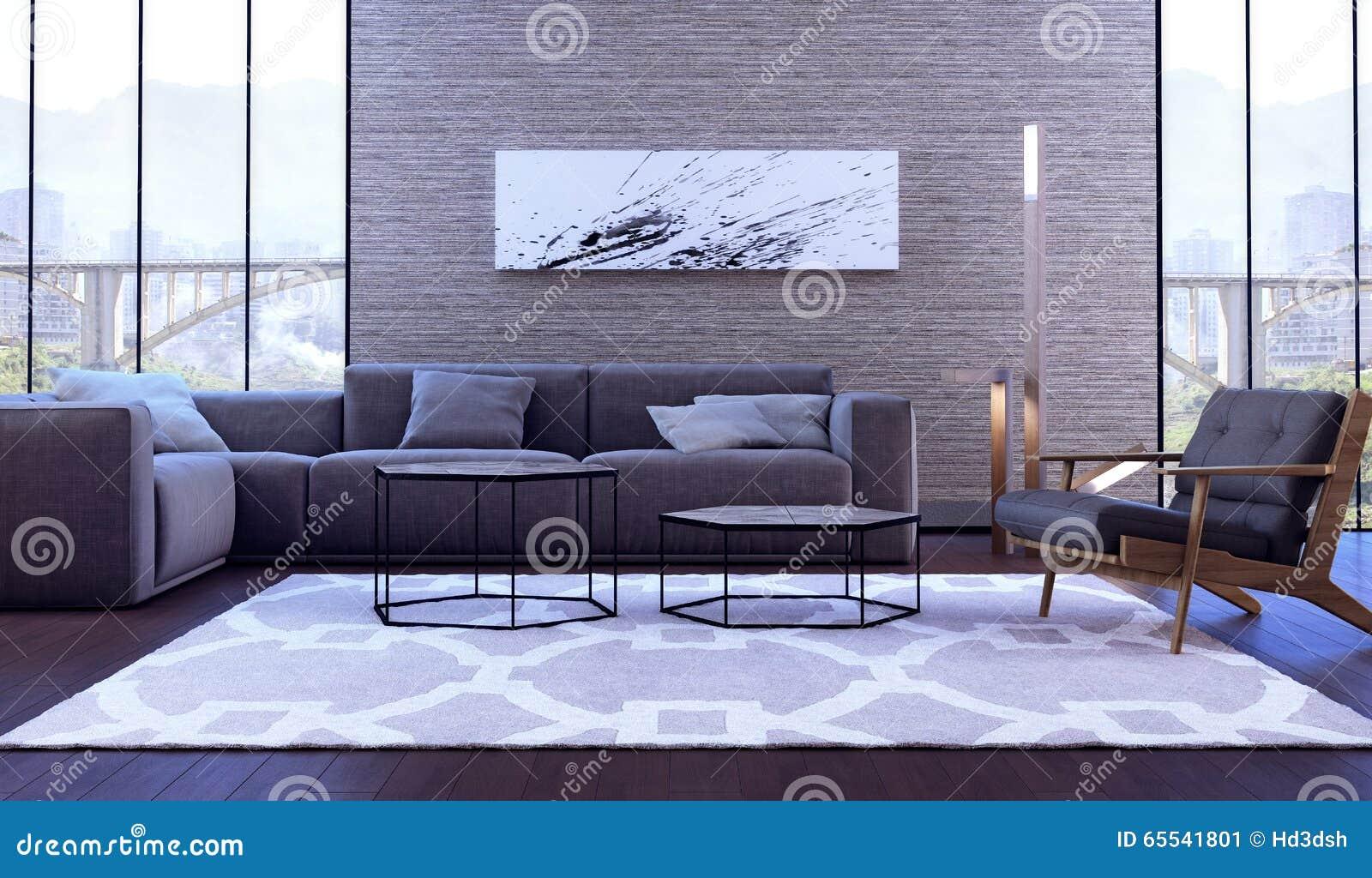 Projeto interior moderno da sala de visitas