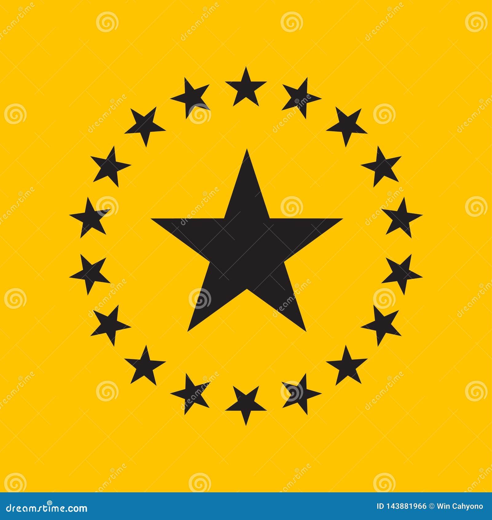 Projeto liso da estrela do círculo Ícone da estrela, ilustração do vetor do logotipo