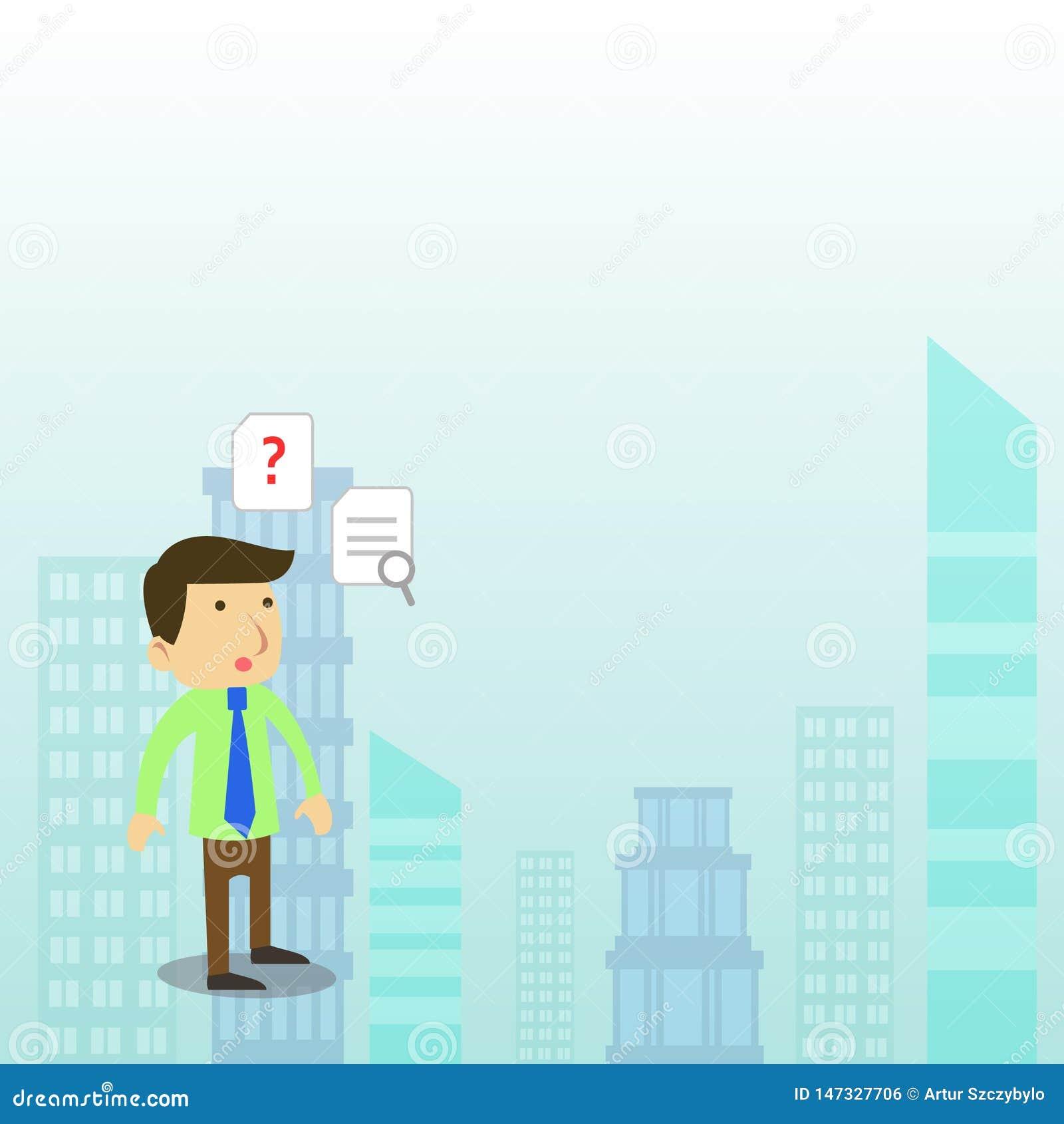 Projeto liso da foto do trabalhador ou do homem de negócios masculino novo de escritório em um laço que está confundido e que pen