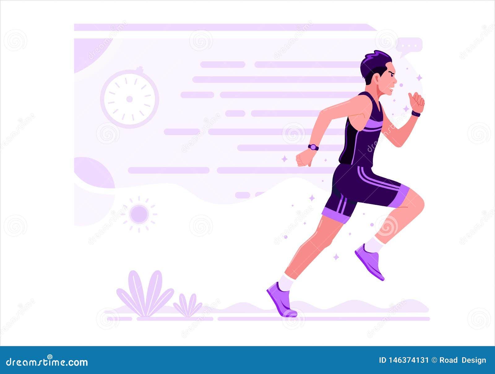 Projeto liso de corrida da ilustração do vetor do esporte atlético dos homens