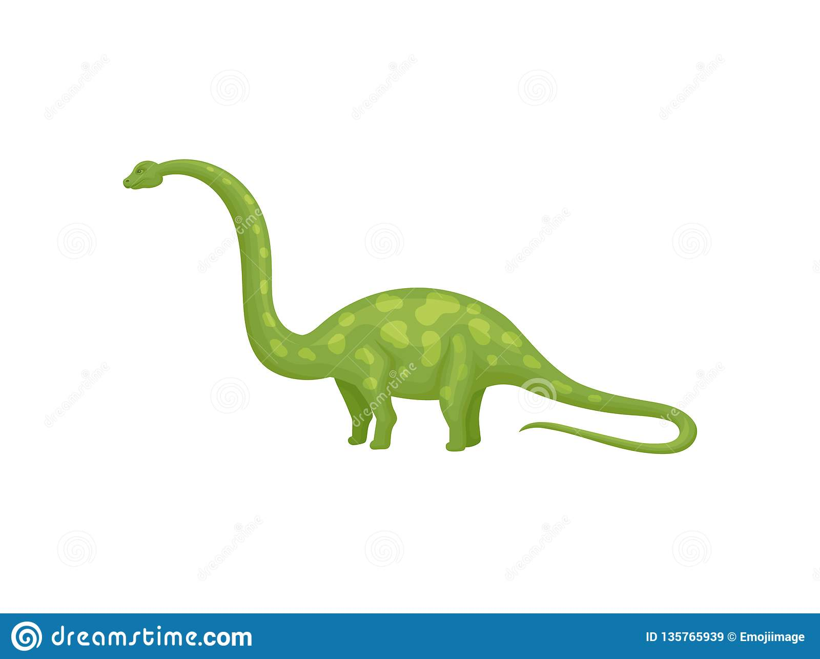 Projeto liso do vetor do apatosaurus ou do brachiosaurus verde Dinossauro gigante com pescoço e a cauda longos