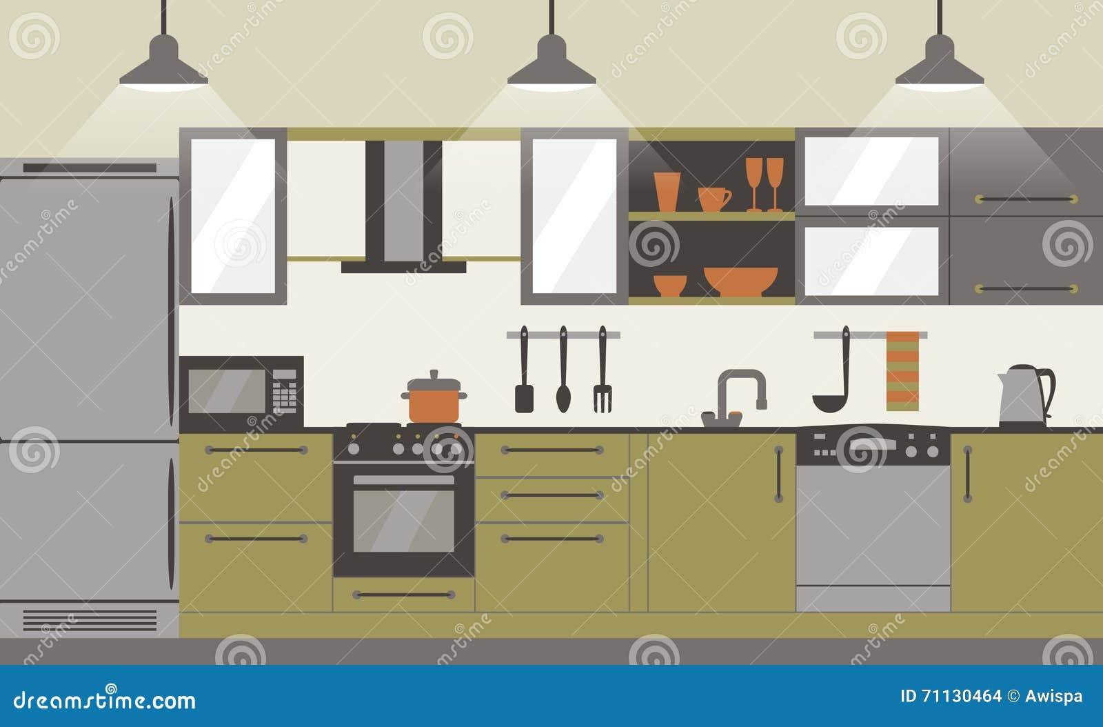 da cozinha com mobília e kithenware home Ilustração lisa do vetor #86A823 1300 874