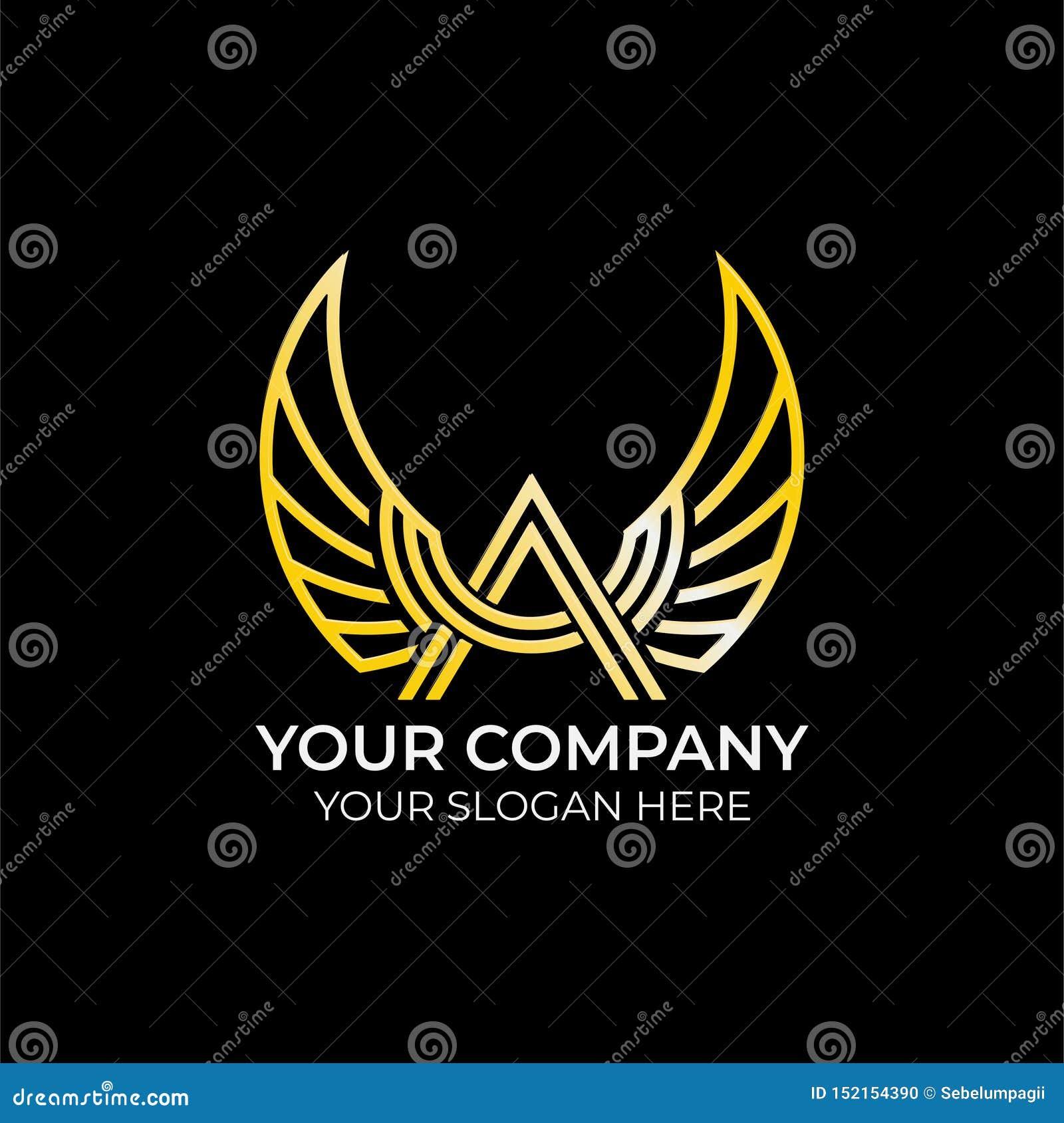 Projeto luxuoso do logotipo da asa
