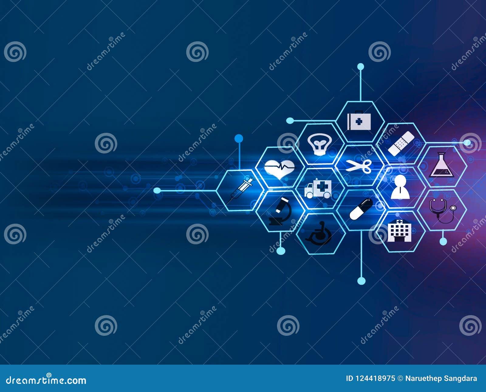 Projeto médico do fundo do conceito da inovação do teste padrão do ícone dos cuidados médicos