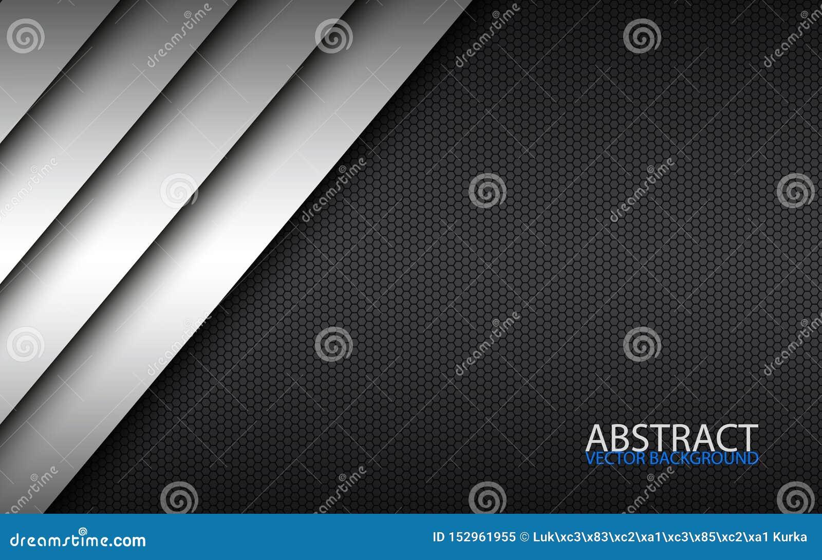 Projeto material moderno preto e branco com um teste padrão sextavado, molde incorporado para seu negócio
