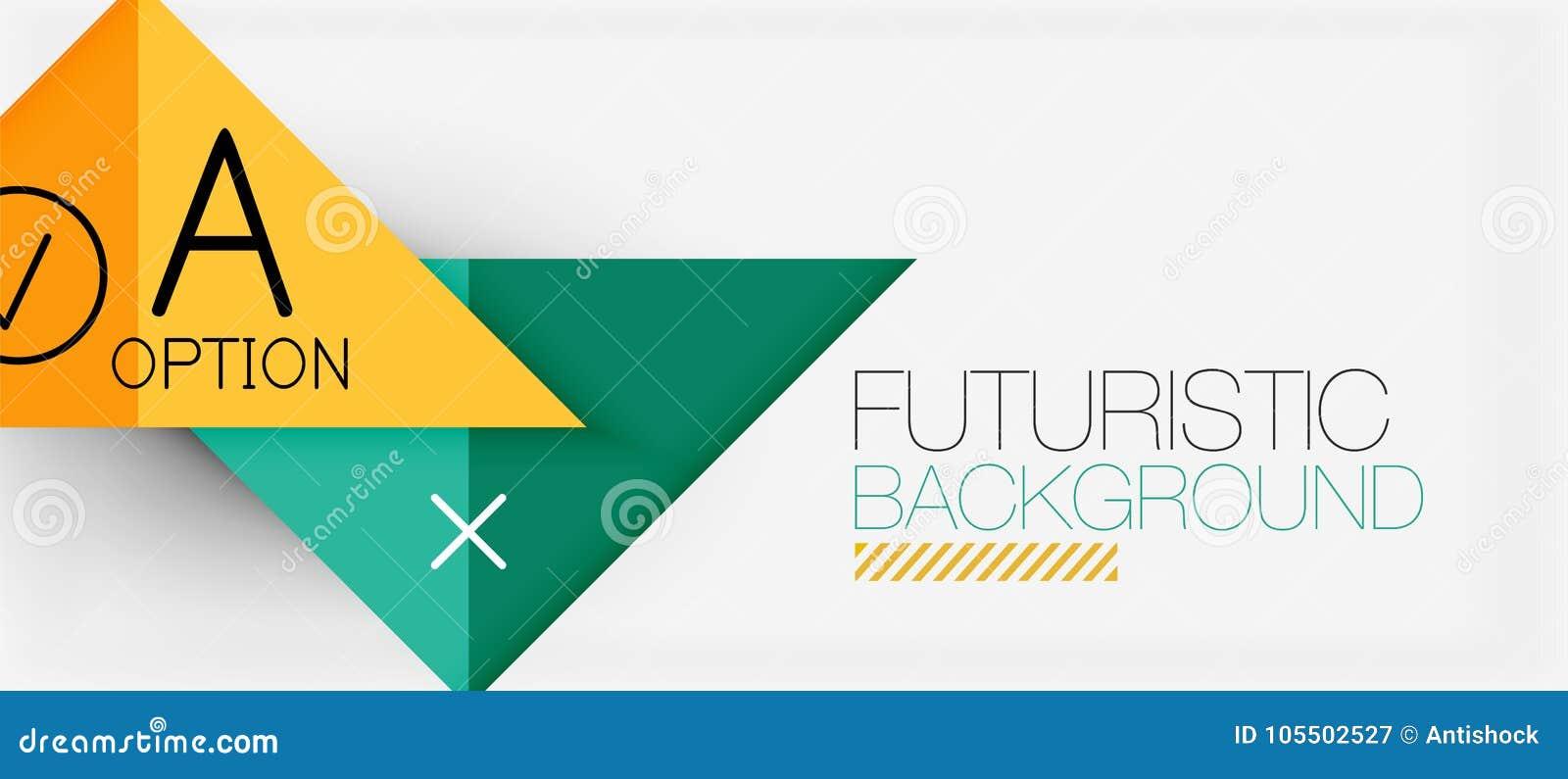Projeto moderno da bandeira do triângulo de Minimalistic, sumário geométrico