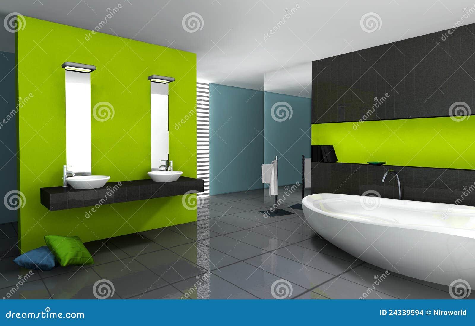 Banheiro com projeto moderno e contemporâneo e mobília colorida em  #95B904 1300 911