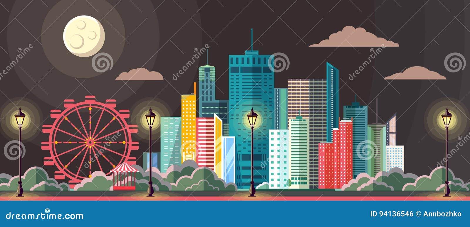 Projeto moderno do estilo liso da paisagem urbana da cidade da cena da noite