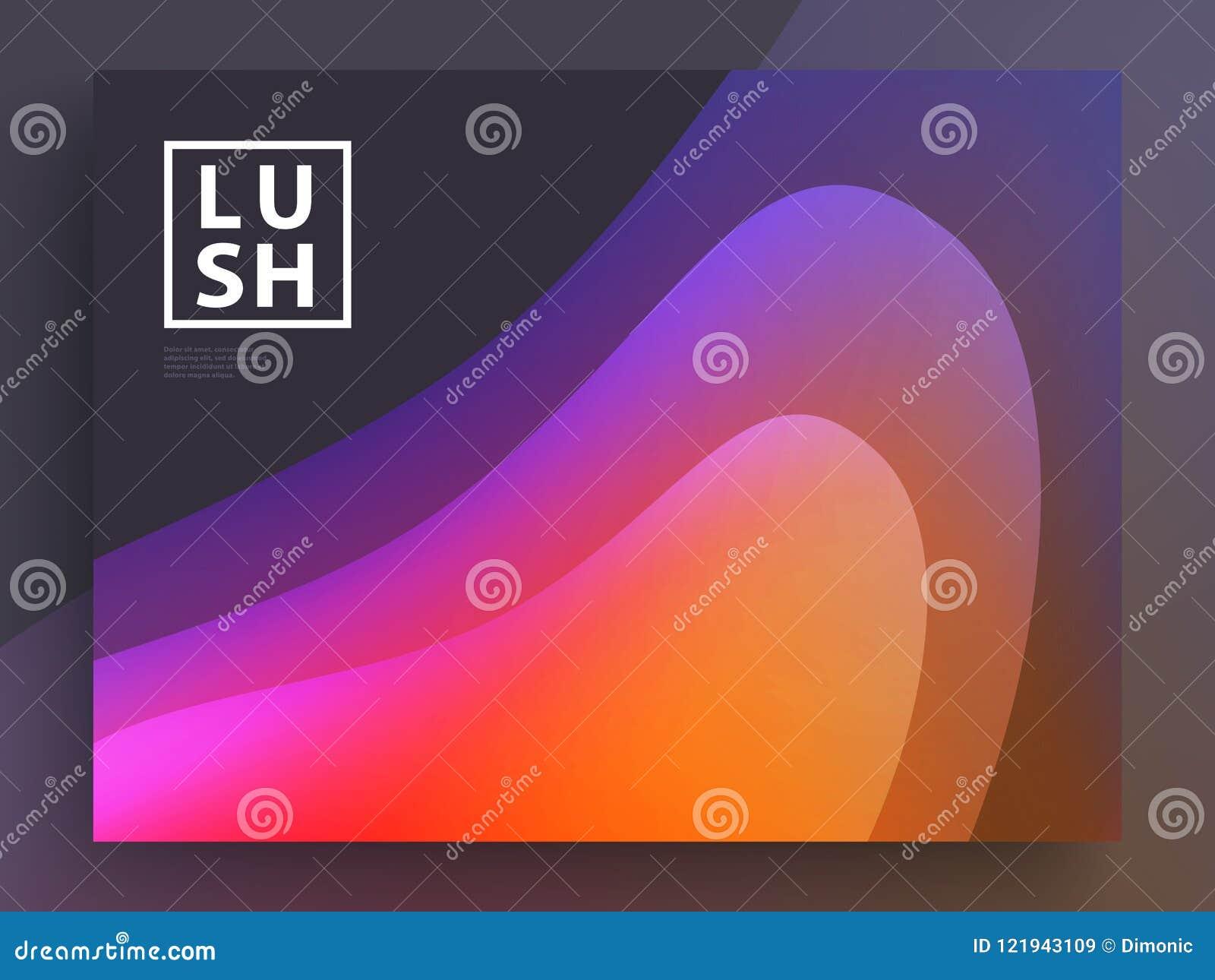 Projeto moderno do molde de tampas Cores fluidas O grupo de inclinação holográfico na moda dá forma para a apresentação, comparti