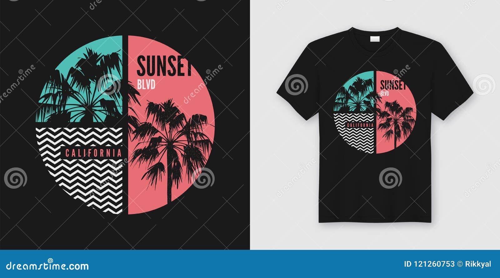 Projeto na moda do t-shirt e do fato de Califórnia da avenida do por do sol com pa