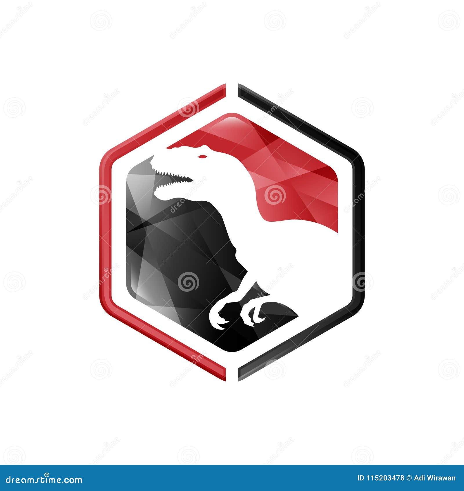 Projeto negativo do estilo do espaço dos animais Vetor negativo do logotipo do estilo do rex de T