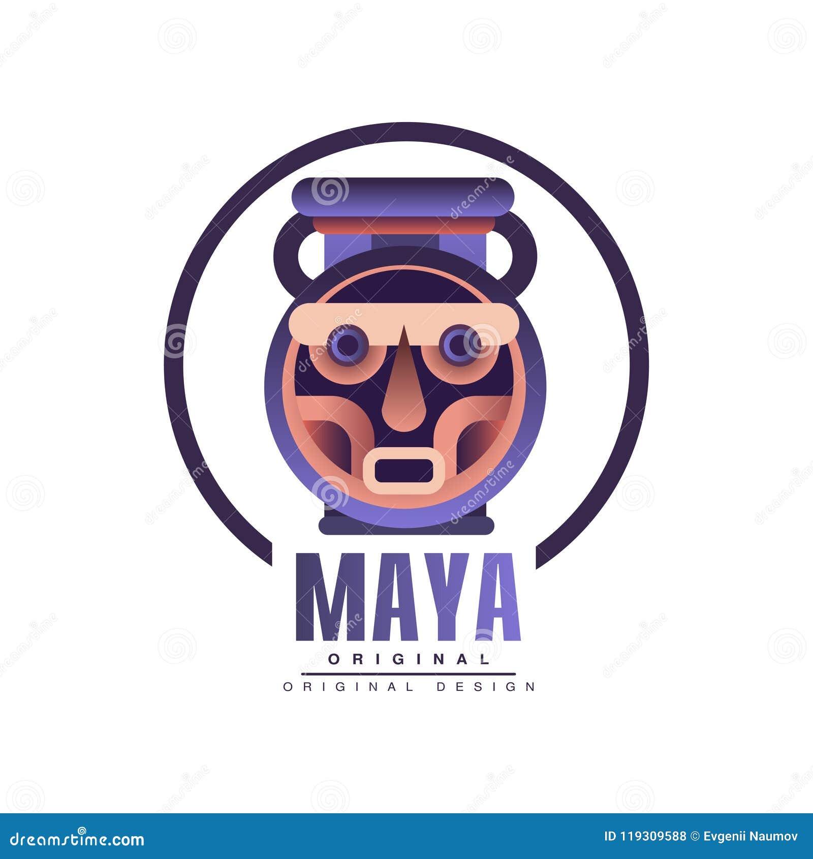Projeto original do logotipo do Maya, ilustração tribal do vetor do emblema em um fundo branco