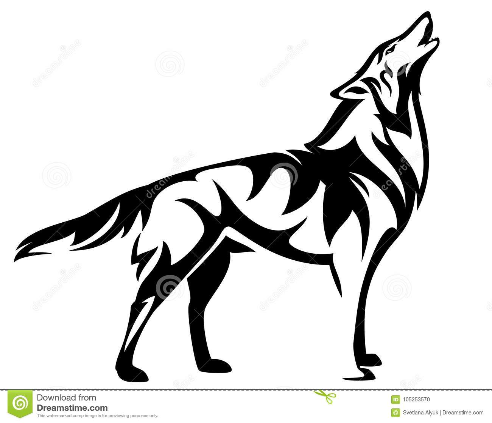 Projeto preto estando do vetor do lobo do urro