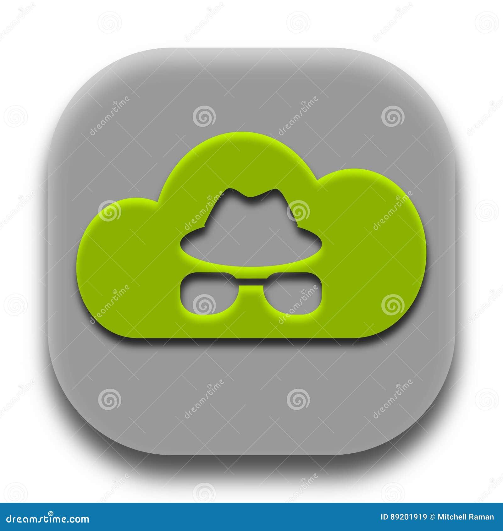 Projeto privado do vetor do ícone da aplicação de Coud