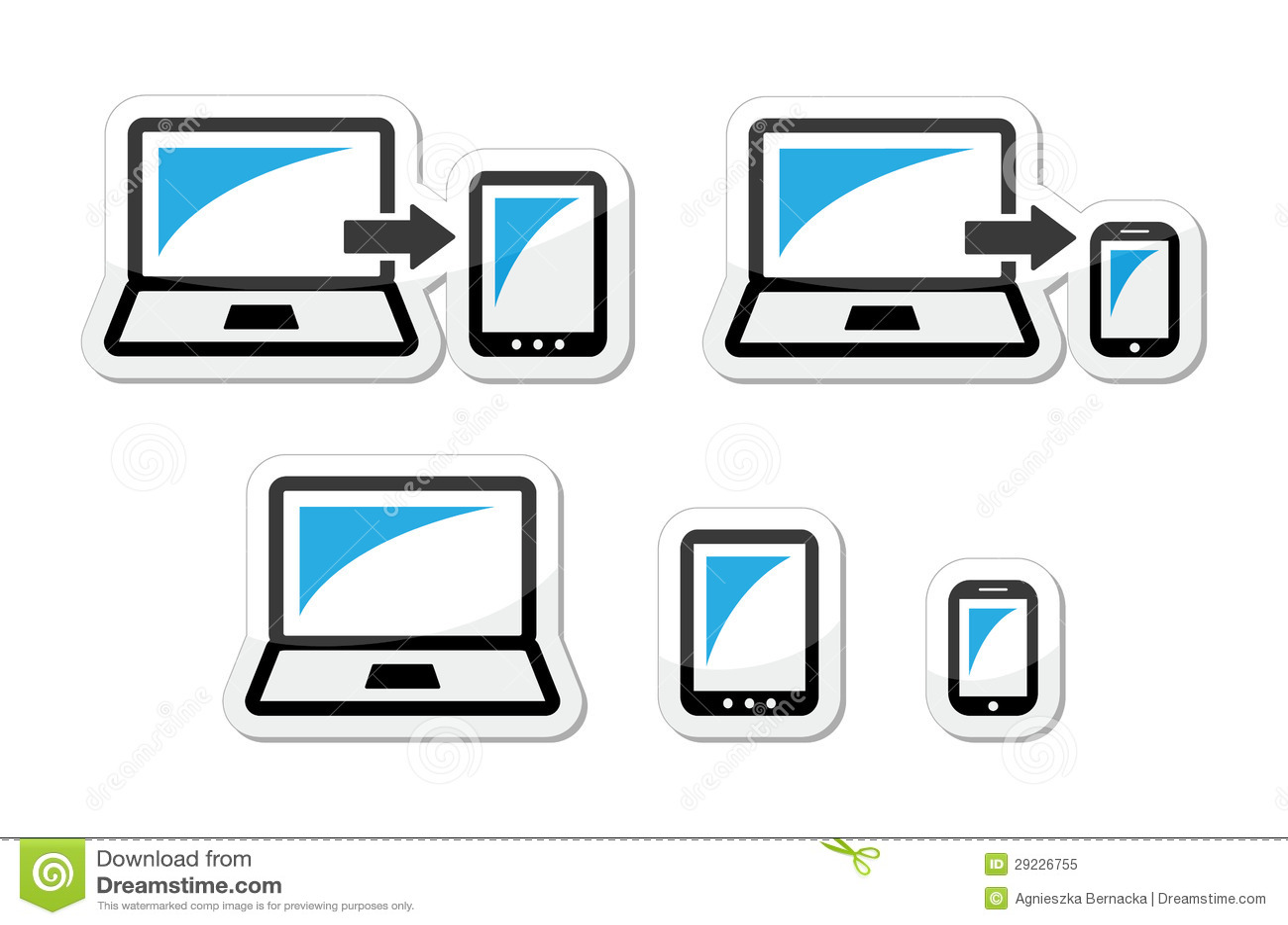 Download Projeto Responsivo - Portátil, Tabuleta, ícones Do Smarthone Azuis E Pretos Ilustração Stock - Ilustração de digital, reflexão: 29226755