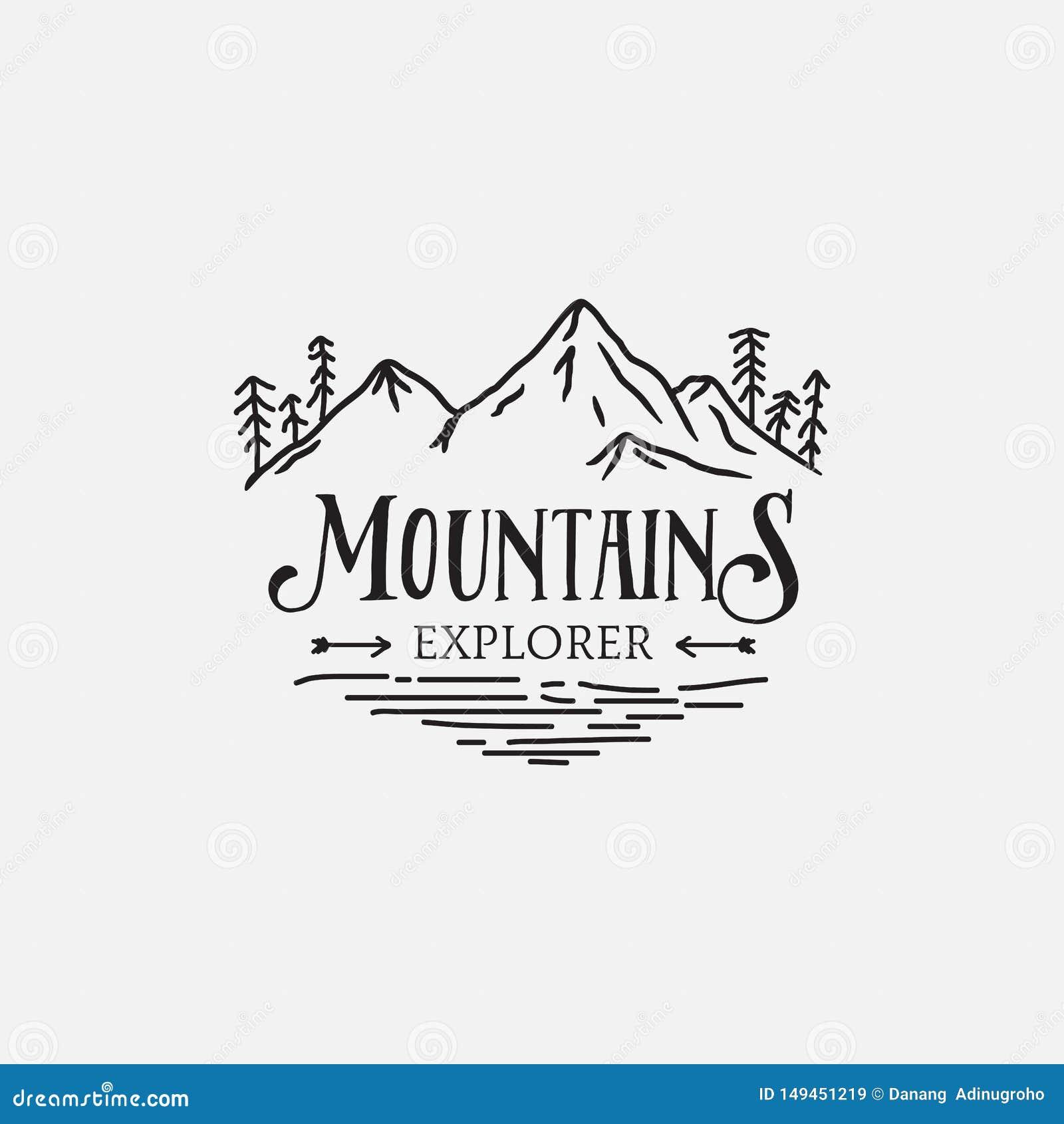 Projeto retro do moderno do logotipo dos pinheiros da montanha