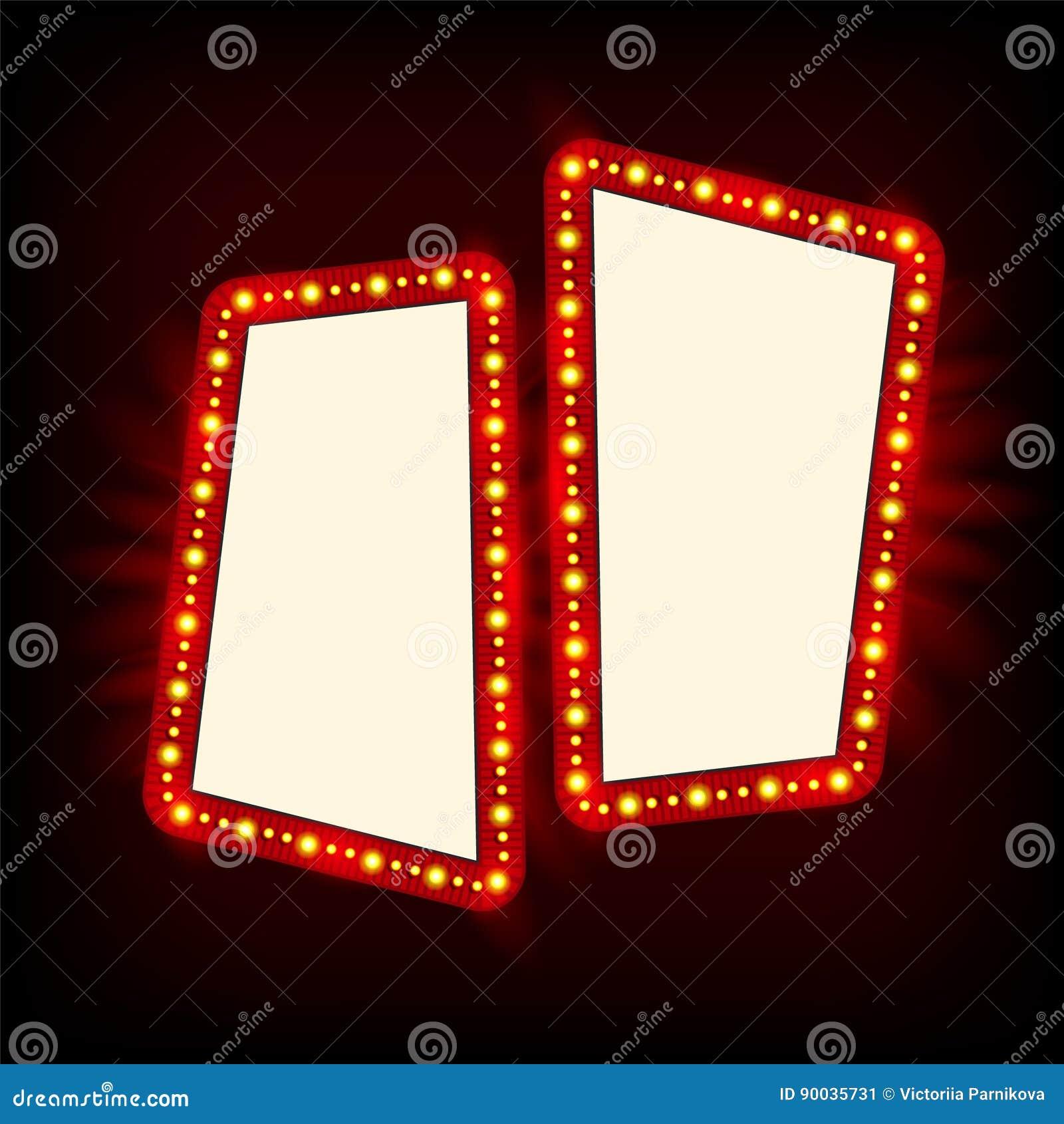 Projeto retro do sinal dos anos 50 de Showtime Quadro de avisos das lâmpadas de néon Quadro de ampolas do Signage do cinema e do