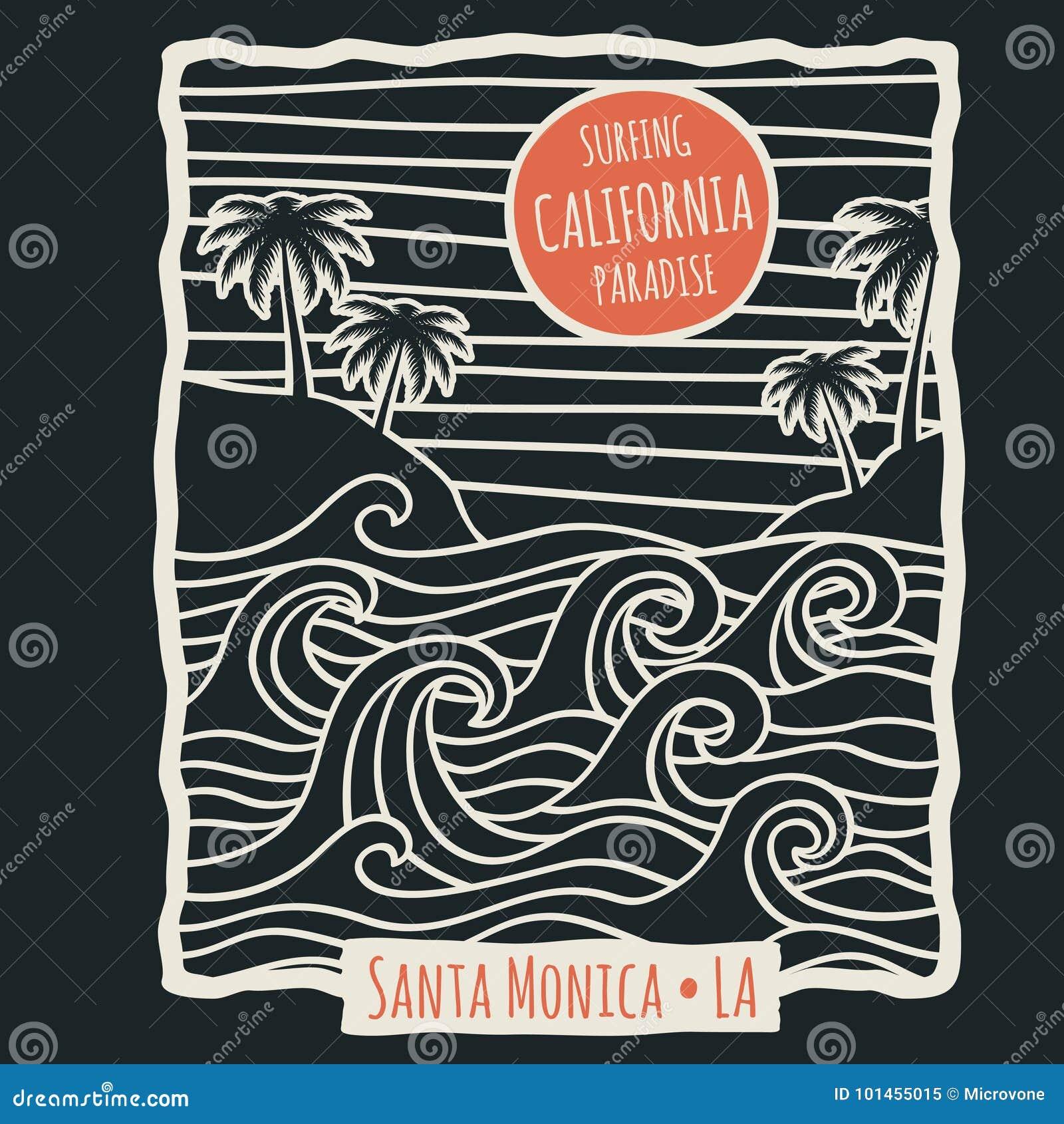 Projeto retro do vetor da camisa do vetor t da ressaca da praia do verão de Califórnia com palmeiras e ondas de oceano