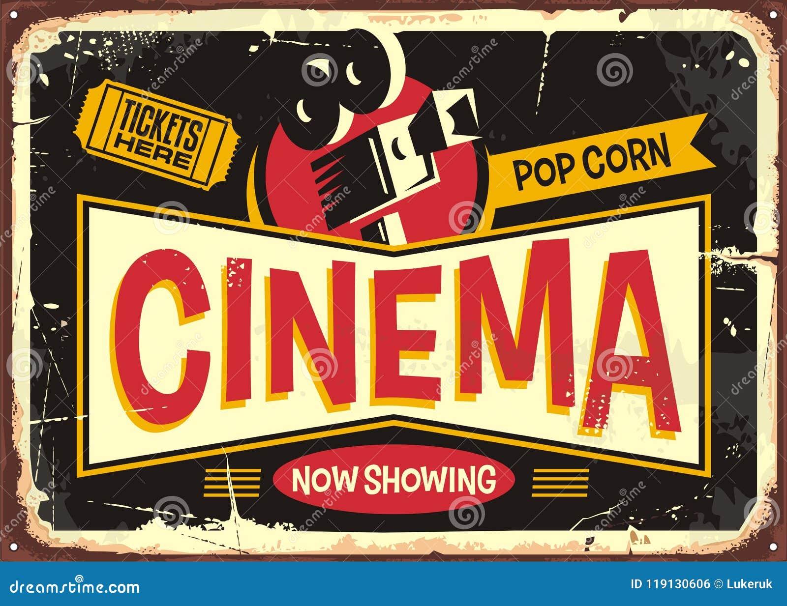 Projeto retro do vetor do sinal da lata do cinema