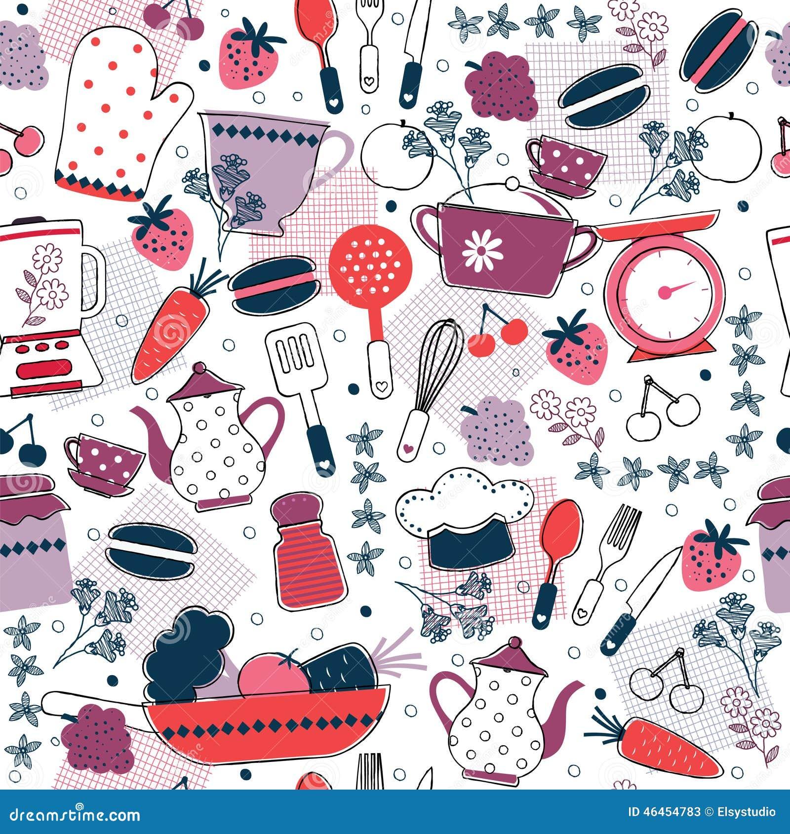 Projeto Sem Emenda Do Papel De Parede Da Cozinha Ilustração do Vetor  #BB1014 1300 1390