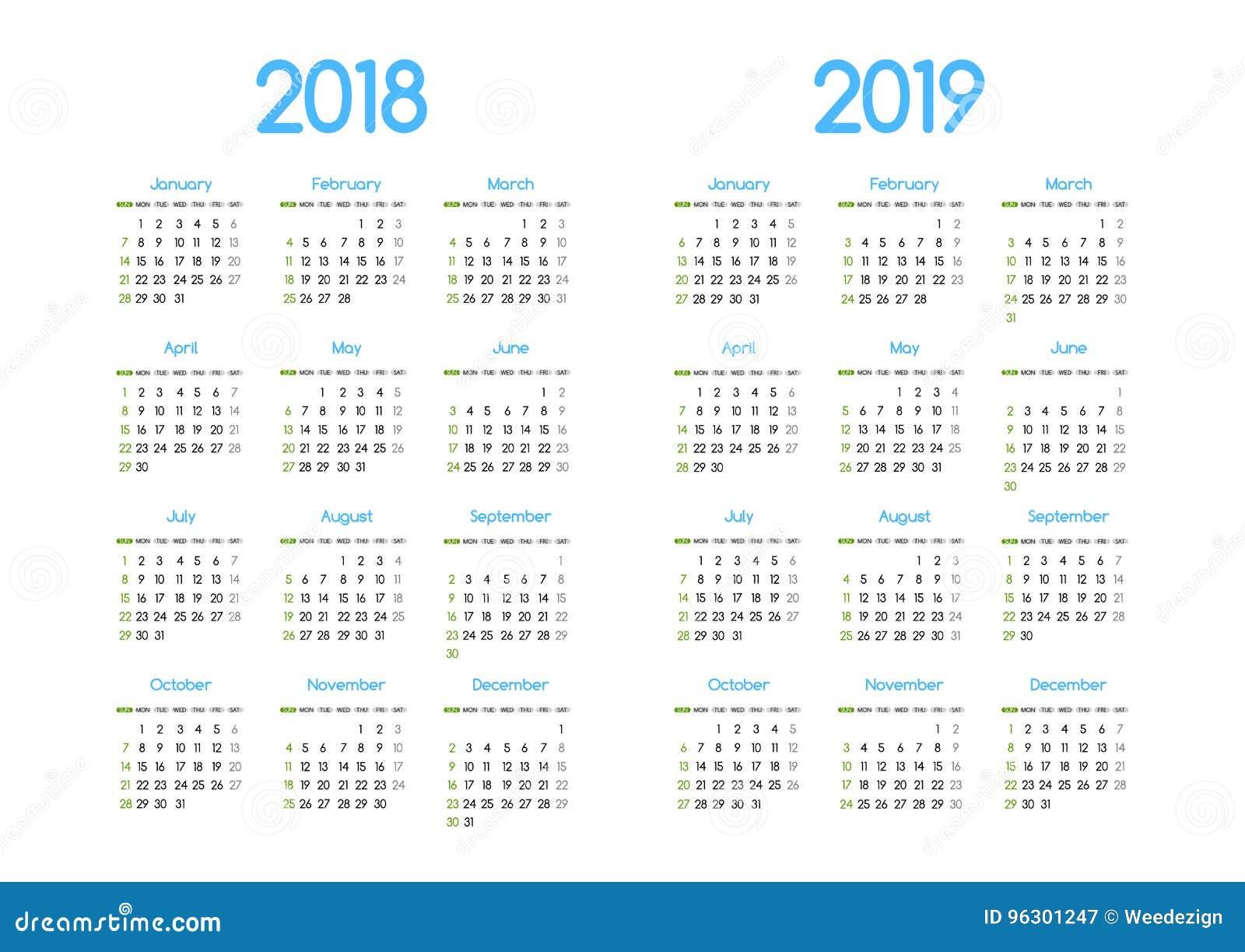 Projeto simples moderno novo do calendário do vetor do ano 2018 e 2019