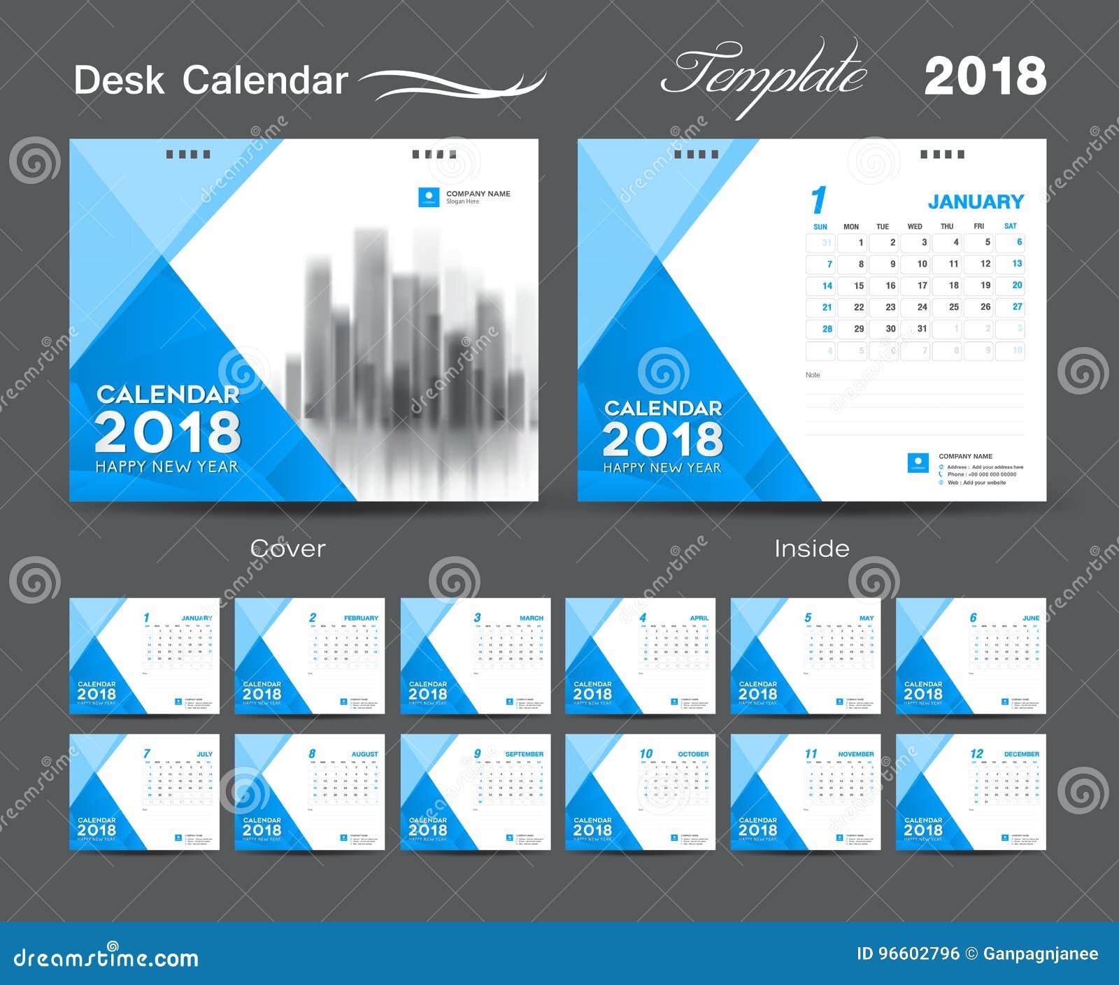 Projeto 2018, tampa da disposição do molde do calendário de mesa azul