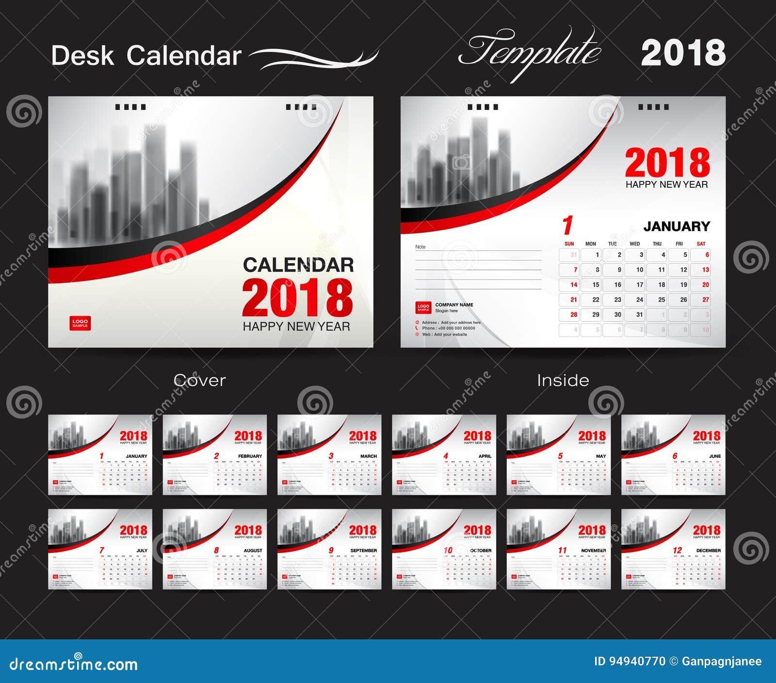 Projeto 2018, tampa vermelha, grupo do molde do calendário de mesa de 12 meses,