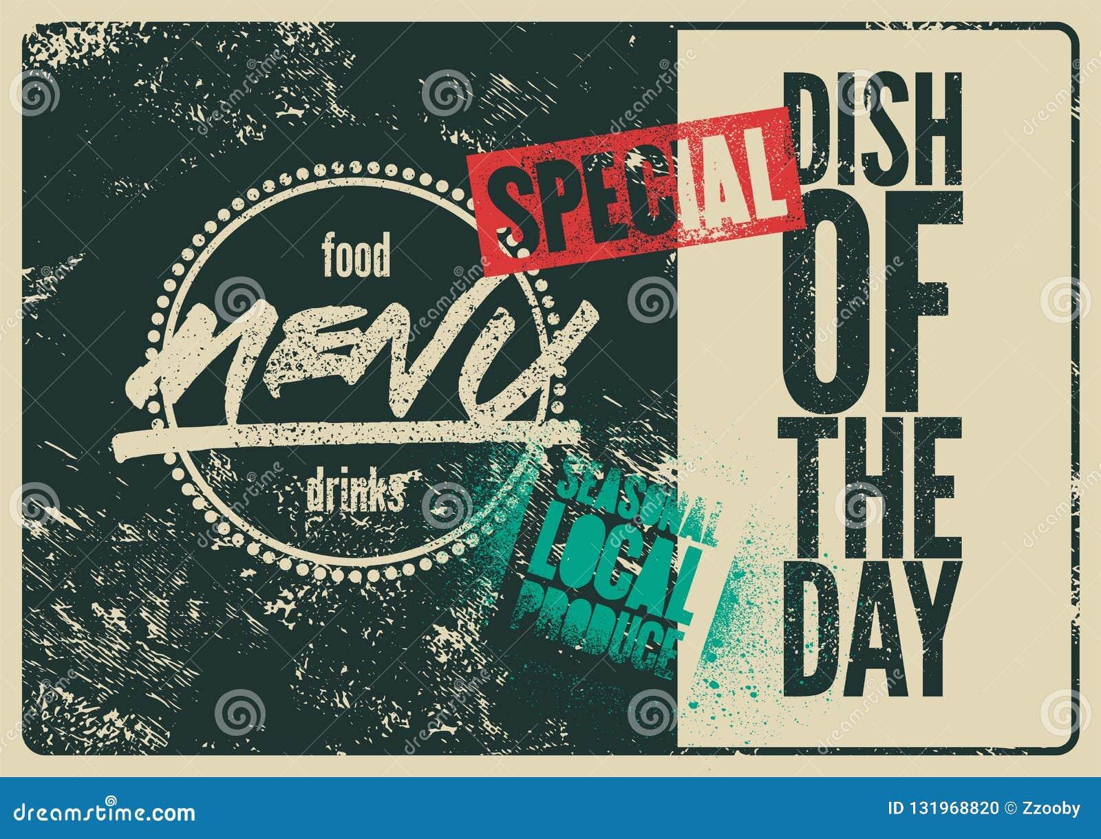 Projeto tipográfico do vintage do grunge do menu especial Prato do dia Produto local sazonal Ilustração retro do vetor